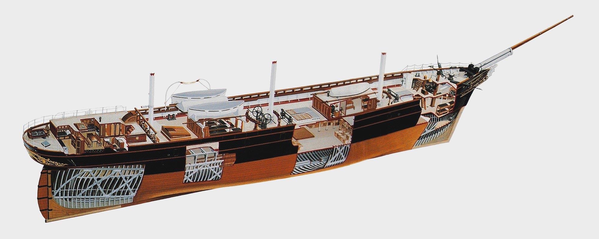 Cutty Sark clipper ship cutaway
