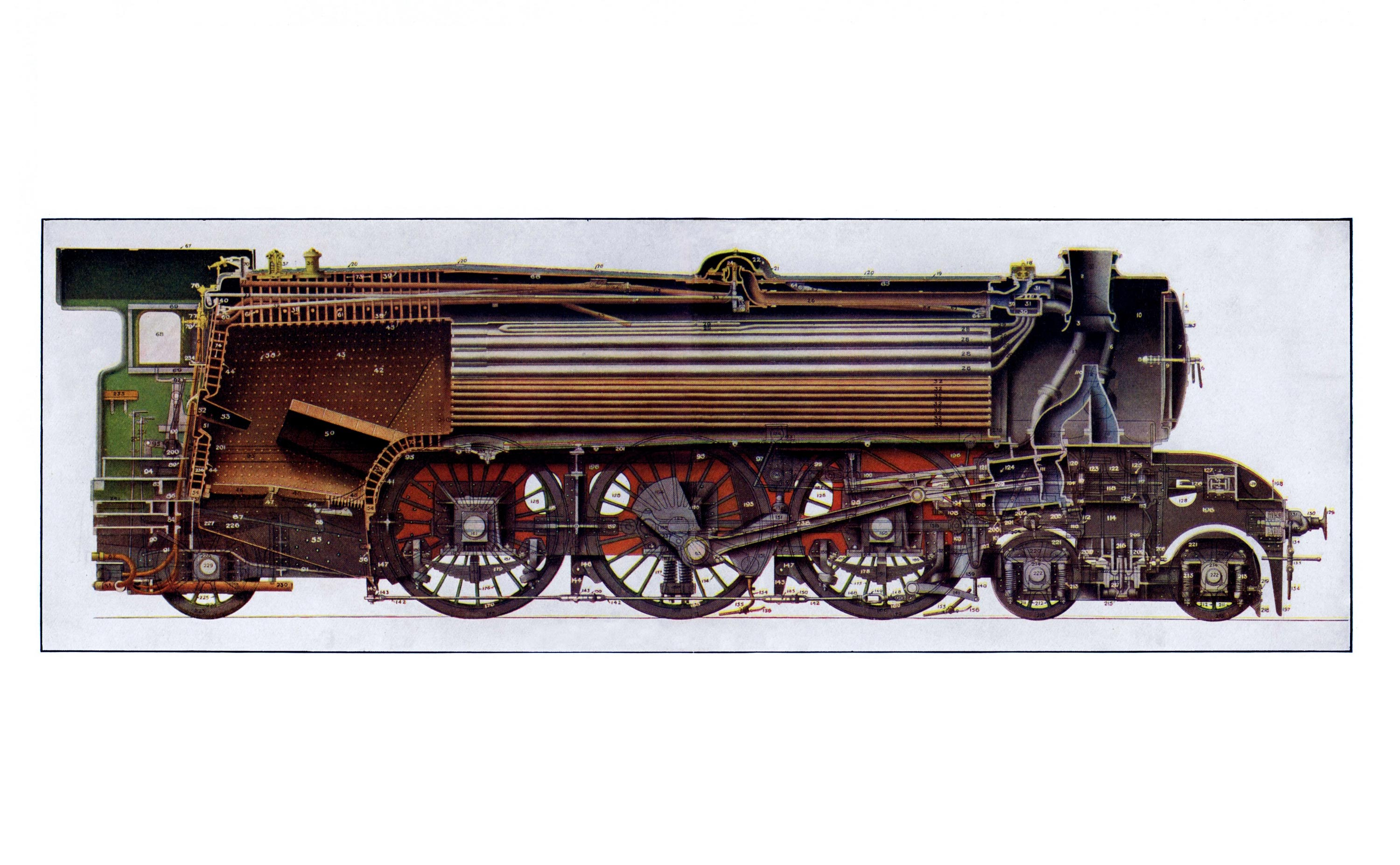 LNER Gresley Classes A1 and A3 locomotive cutaway