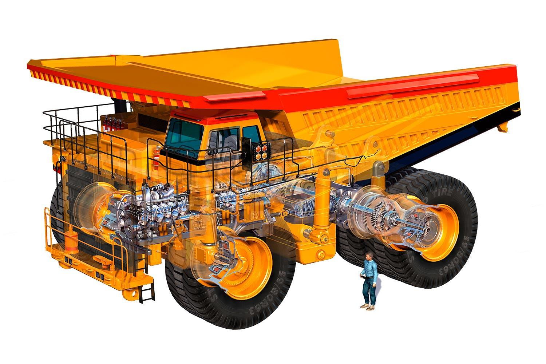 Haul truck cutaway