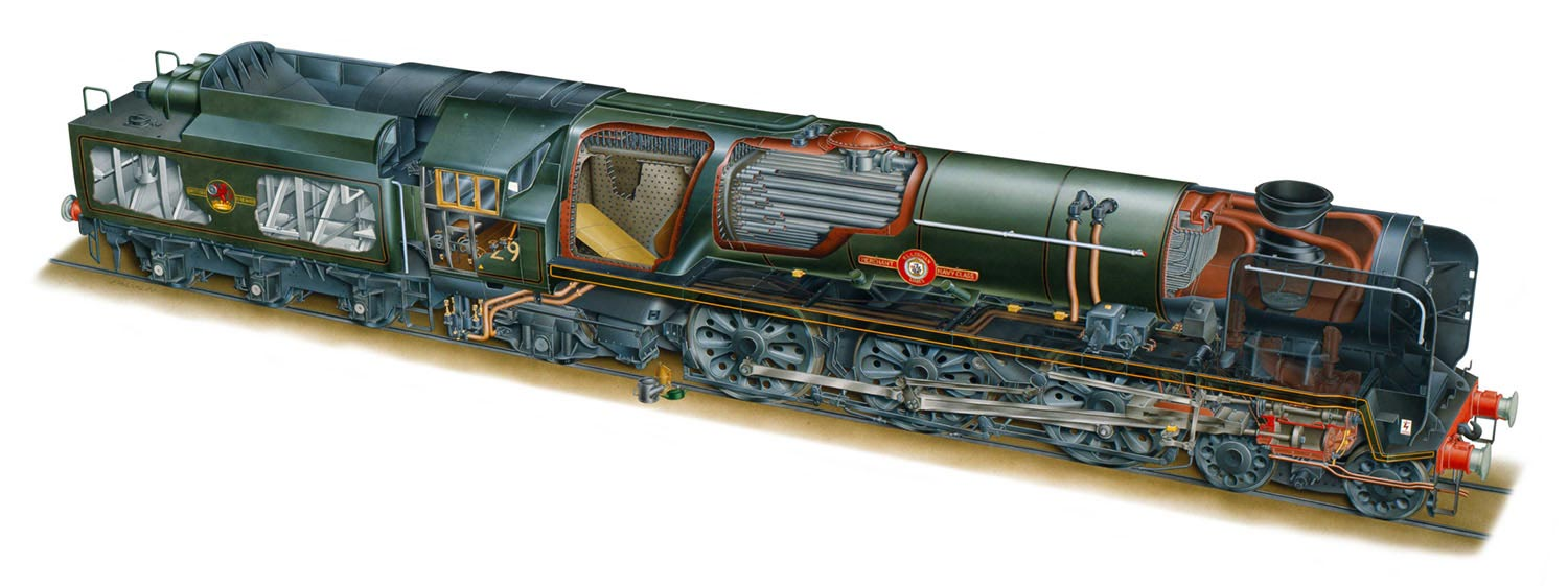 Merchant Navy class locomotive cutaway