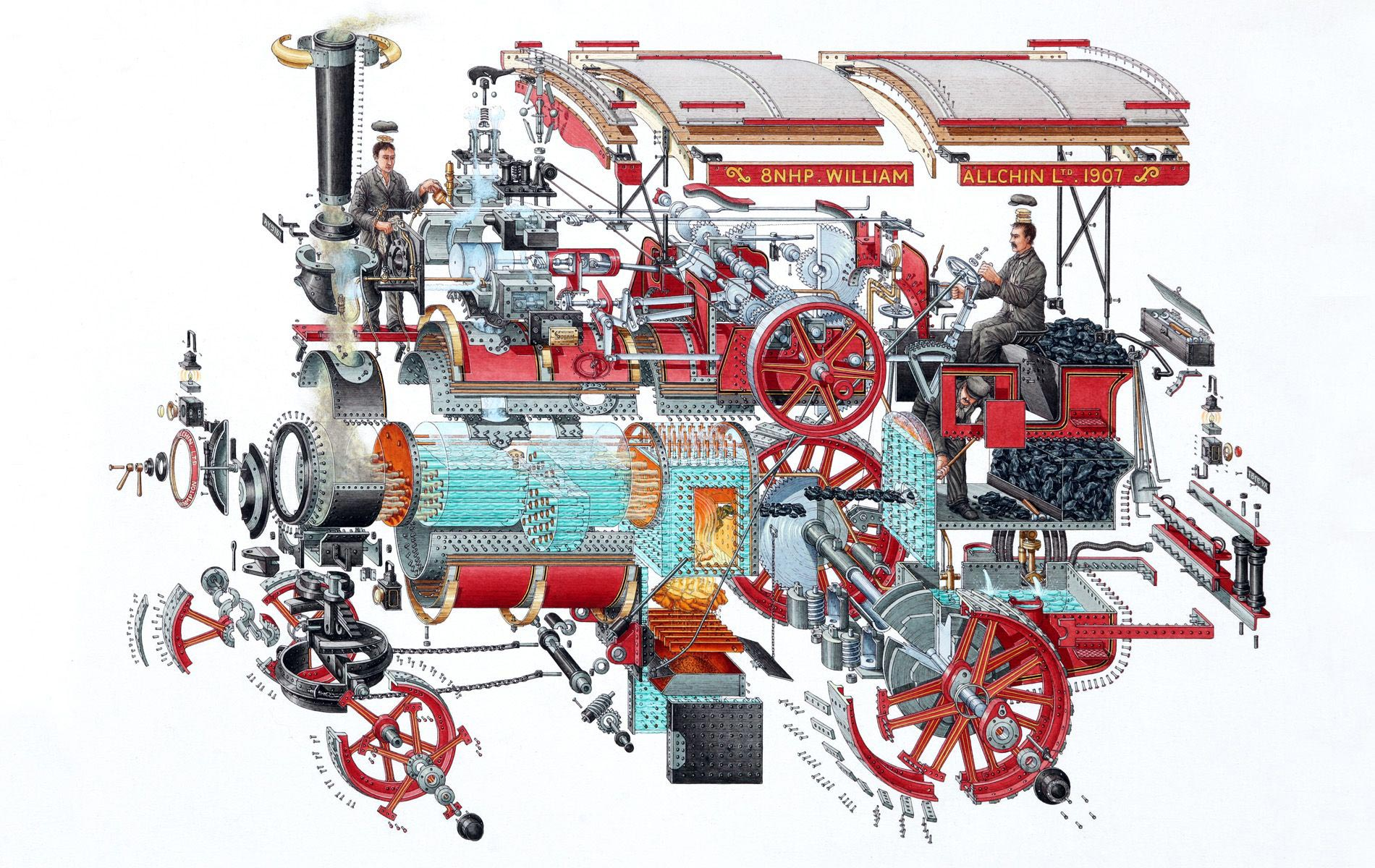 William Allchin Traction engine cutaway