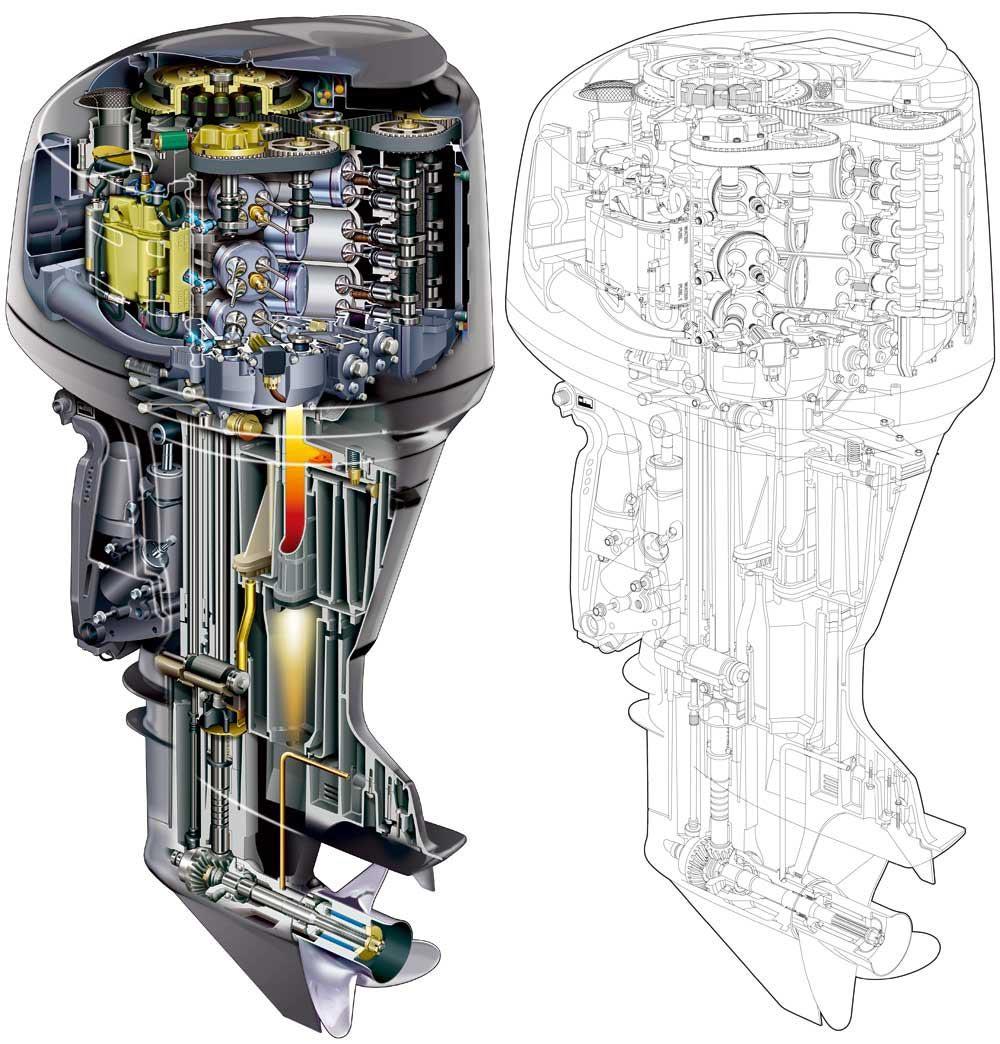 Yamaha boat engine cutaway