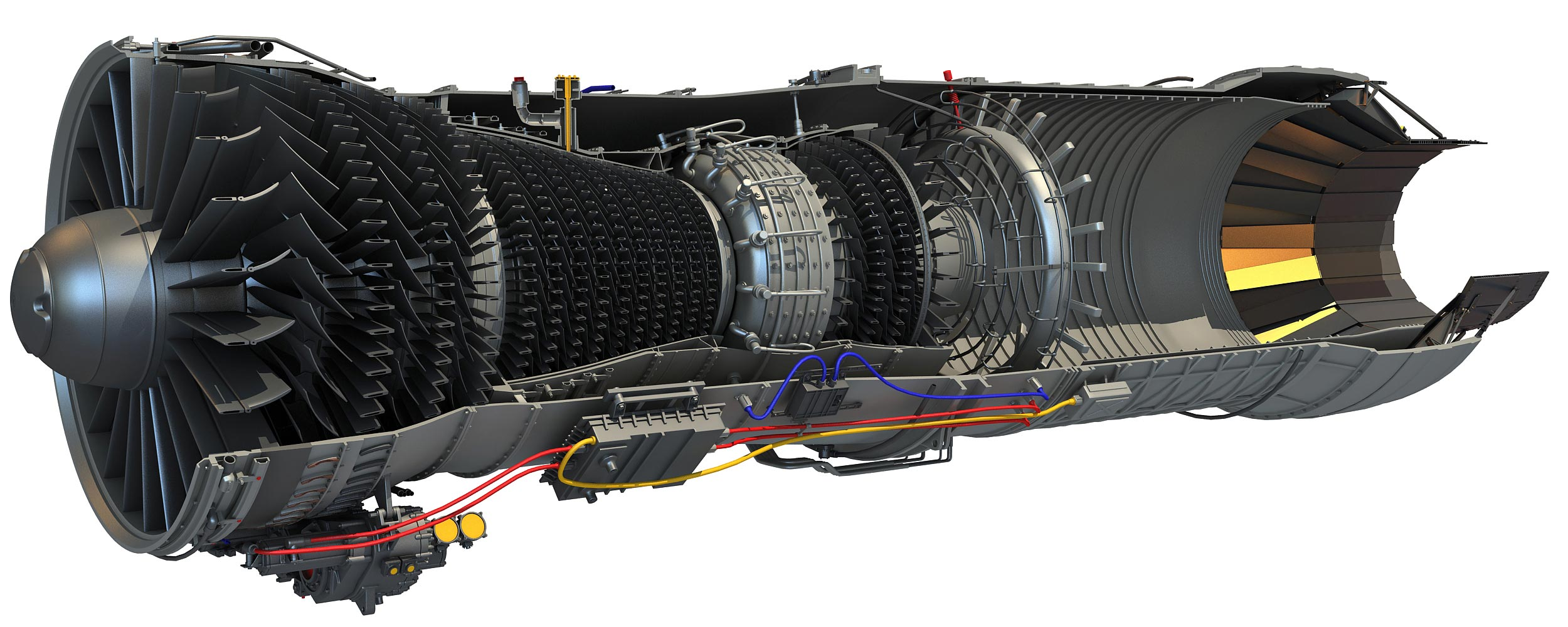 Pratt & Whitney F100 Turbofan Engine cutaway