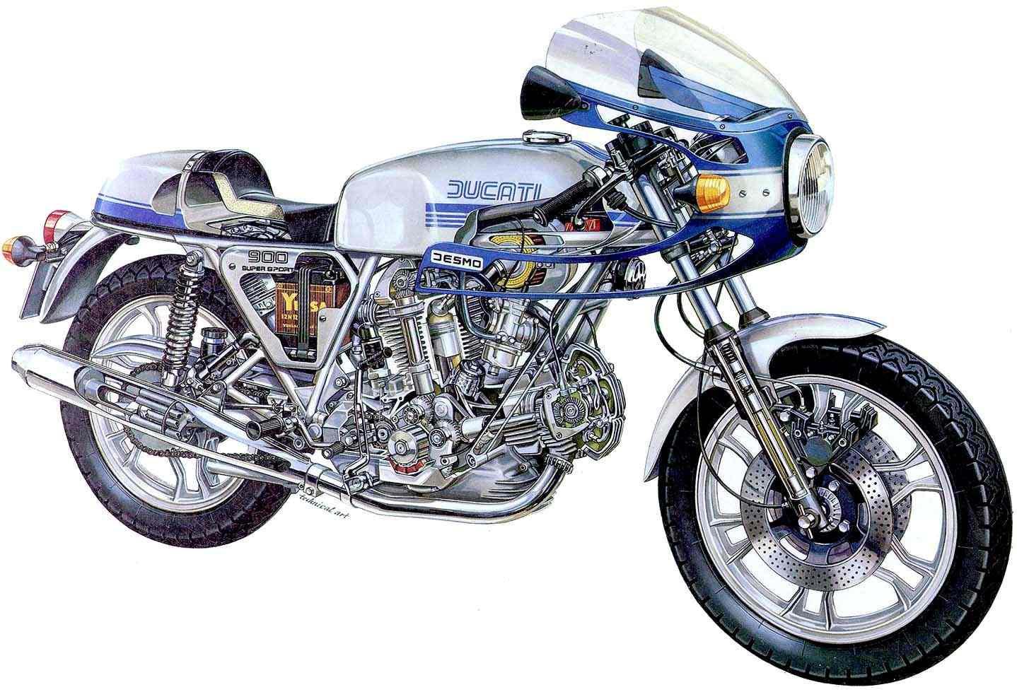 Ducati 900SS cutaway drawing
