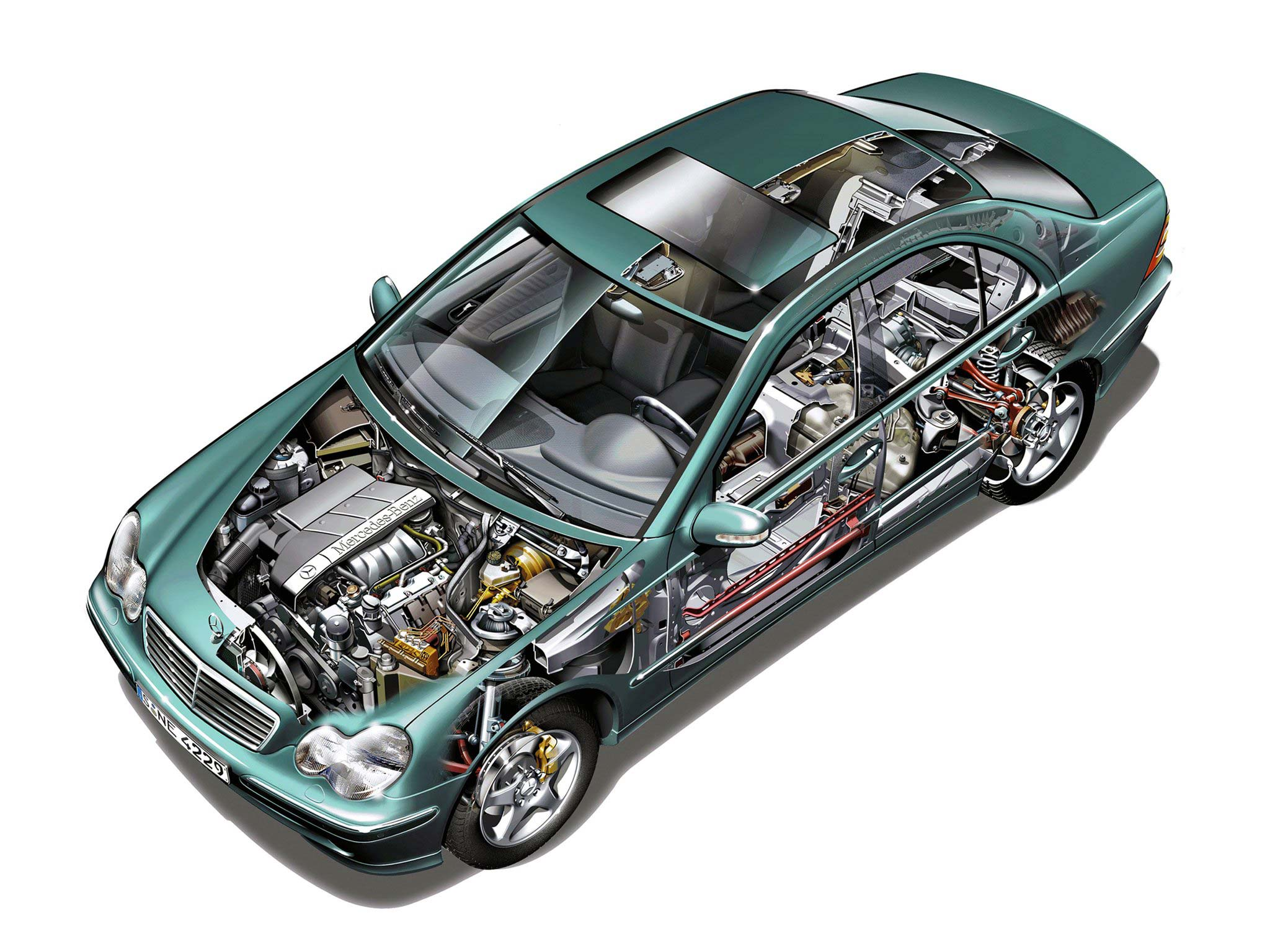Mercedes-Benz C-Class cutaway drawing
