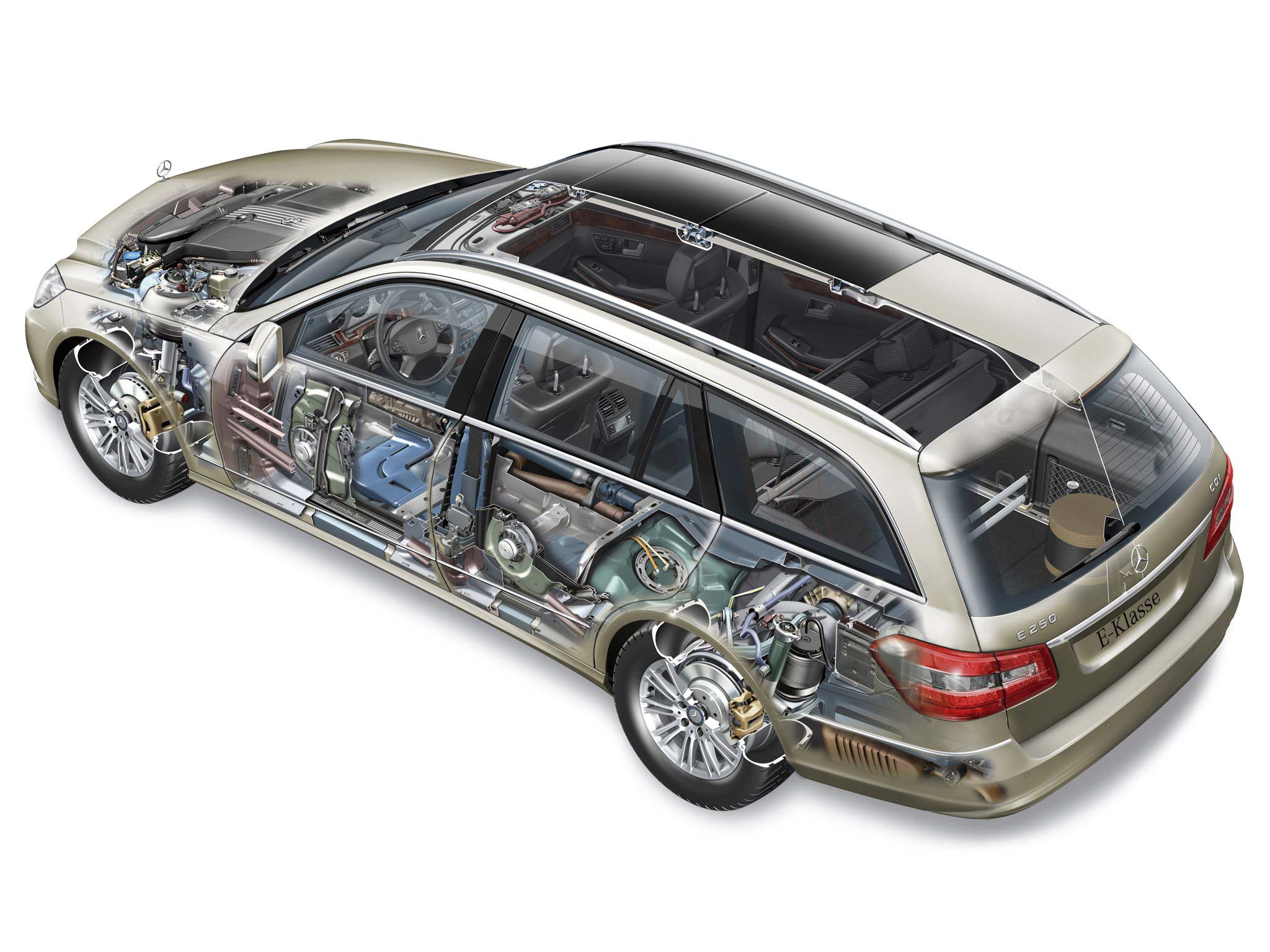 Mercedes-Benz E250 CDI Estate cutaway drawing