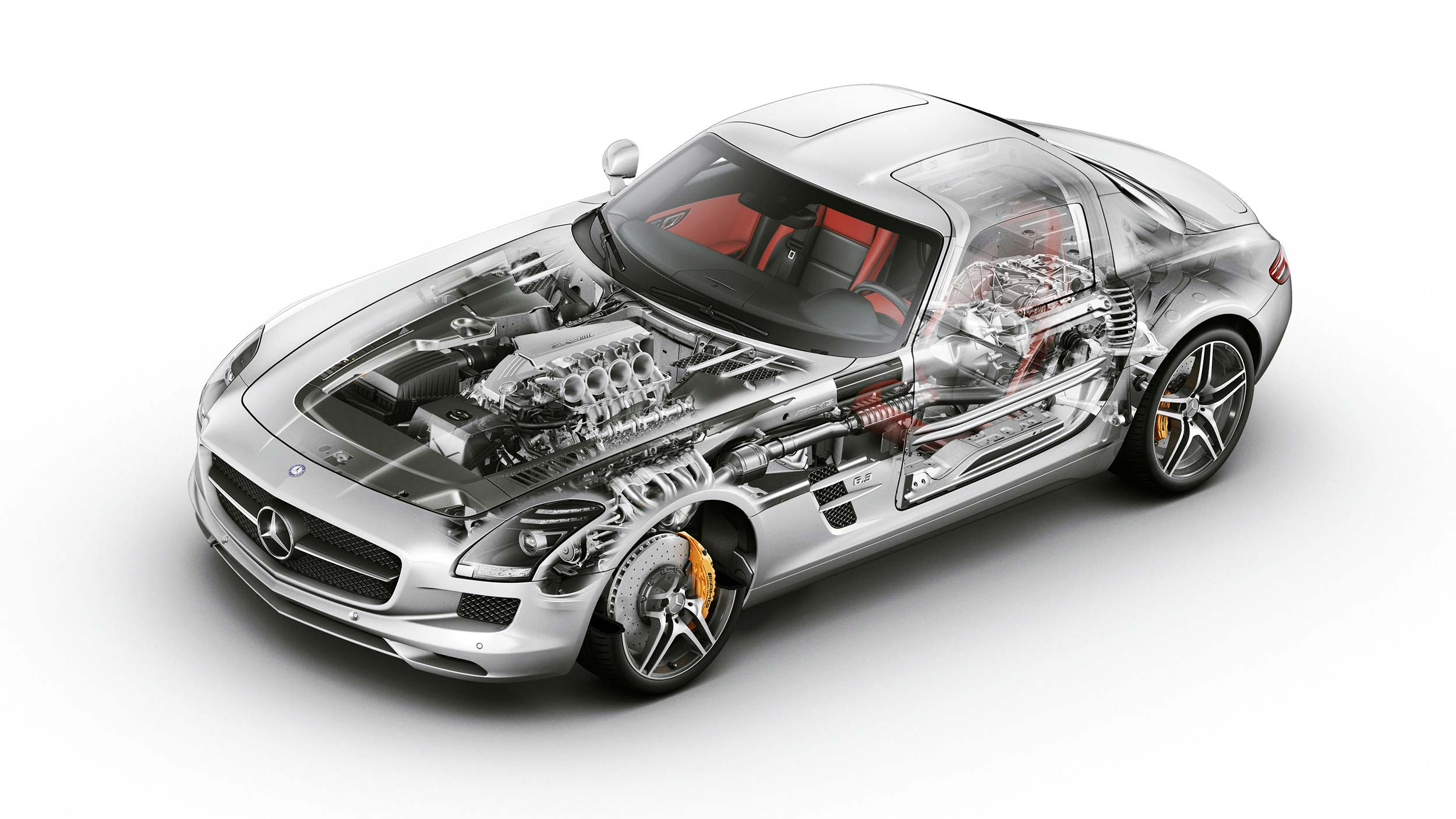Mercedes-Benz SLS AMG cutaway drawing