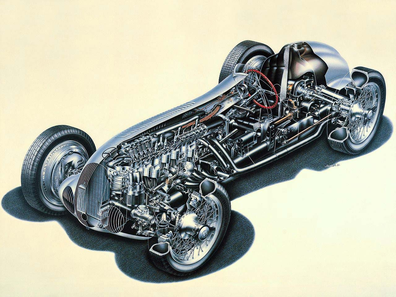 Mercedes-Benz W125 cutaway drawing
