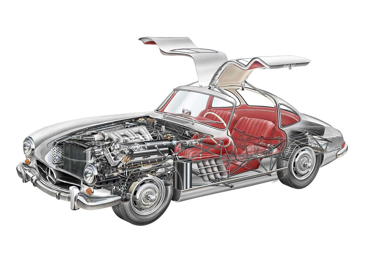 Mercedes-Benz 300 SL Gullwing cutaway drawing