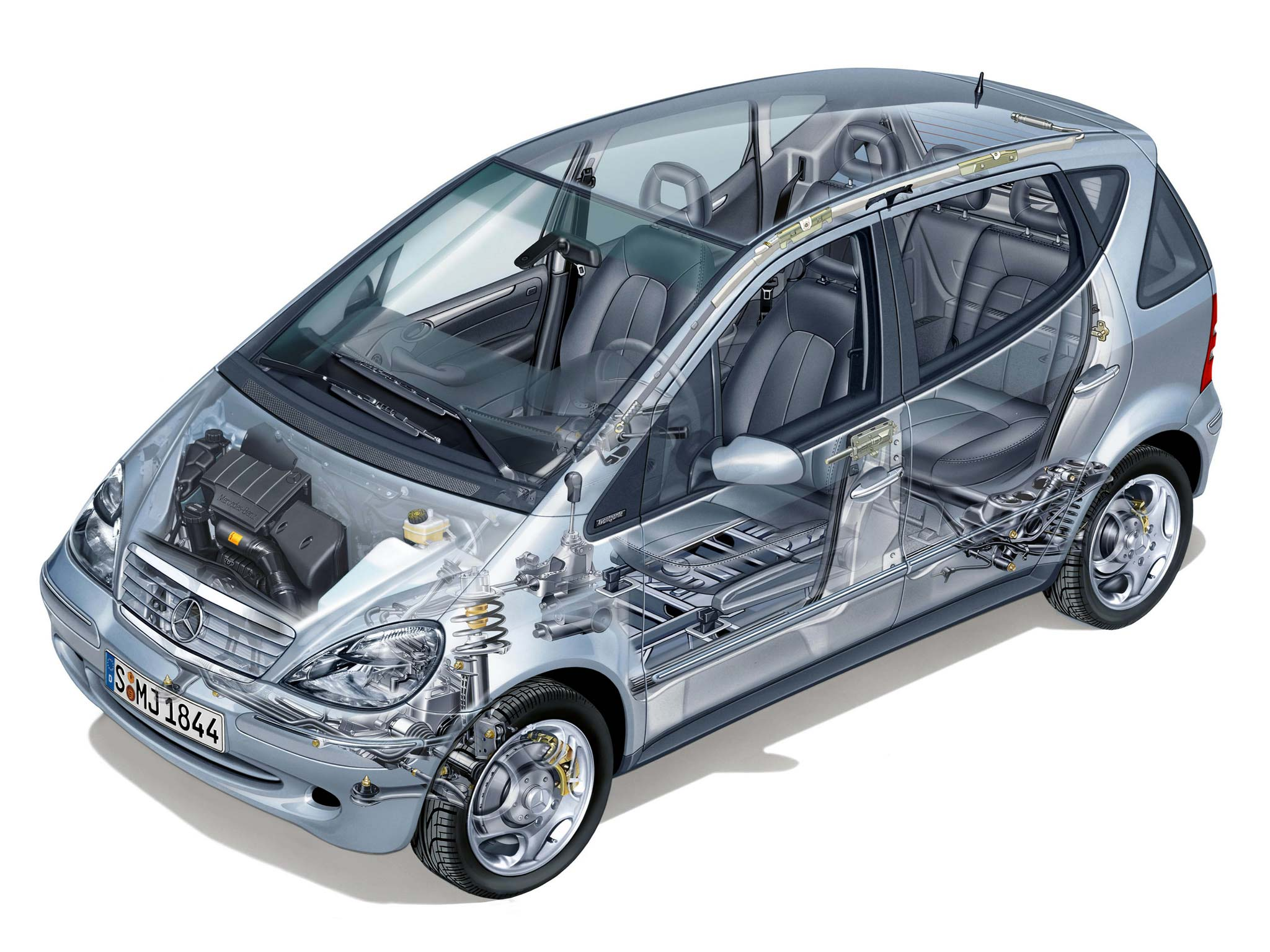 Mercedes-Benz A-class cutaway drawing