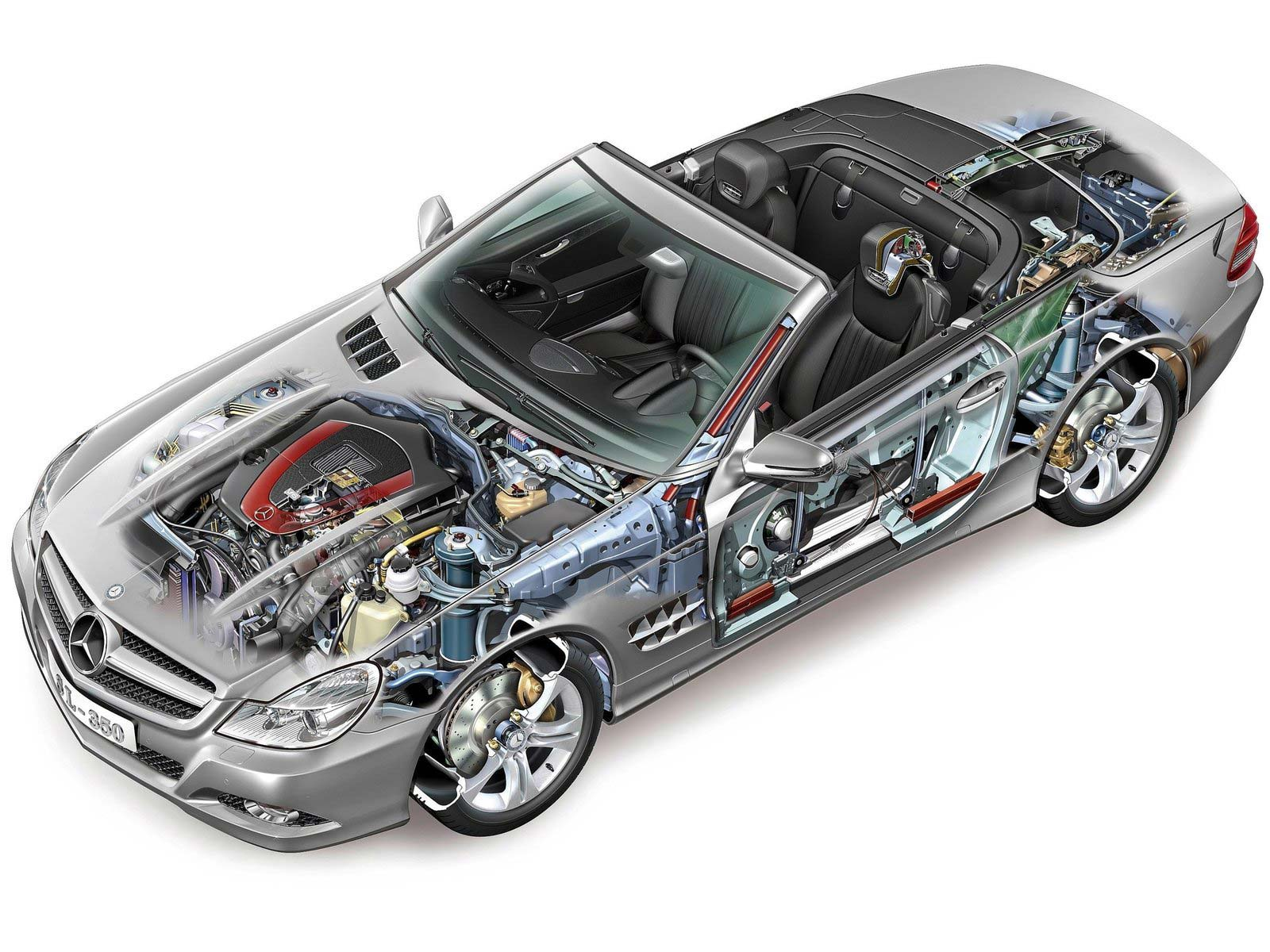 Mercedes-Benz SL-Class 350 cutaway drawing