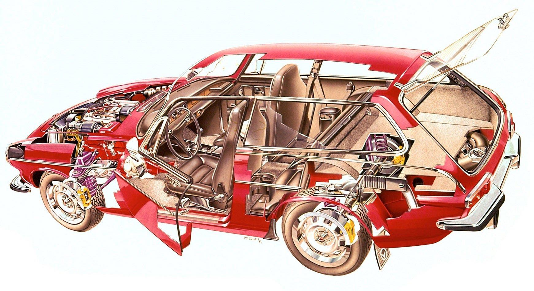 Volvo 1800ES cutaway drawing
