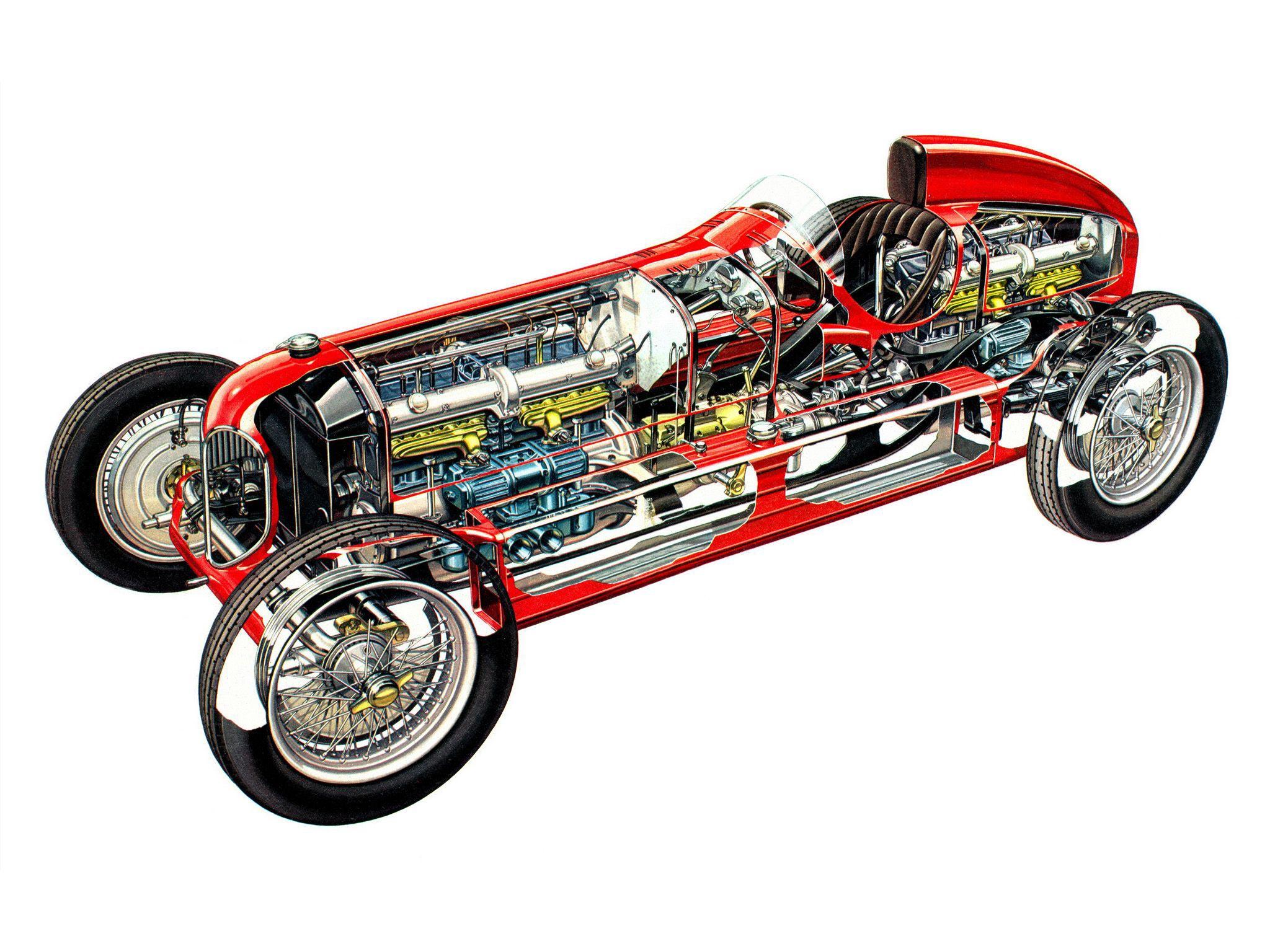 Alfa Romeo 16C Bimotore cutaway drawing