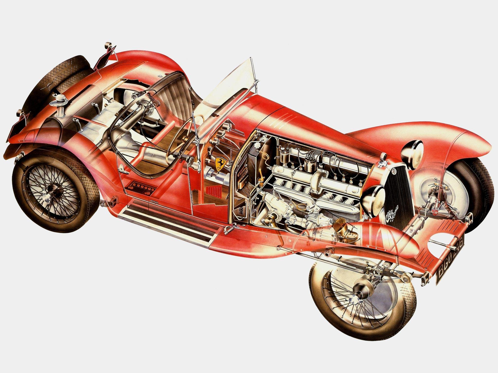 Alfa Romeo 8C 2300 Spider Corsa cutaway drawing
