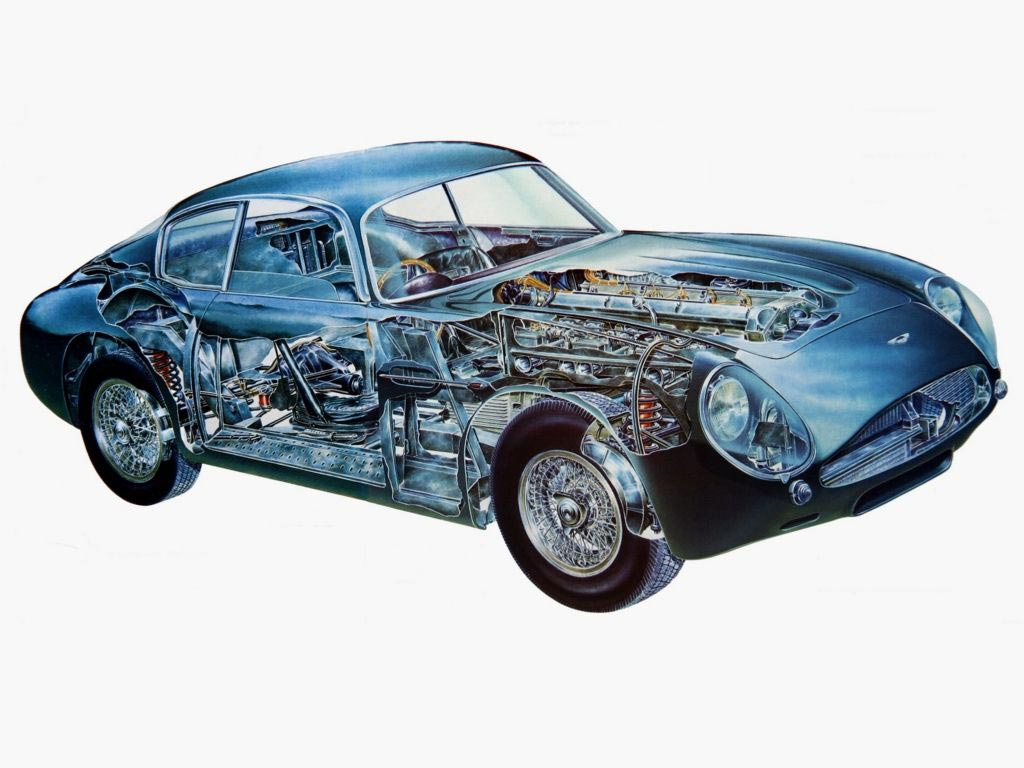 Aston Martin DB4 cutaway drawing