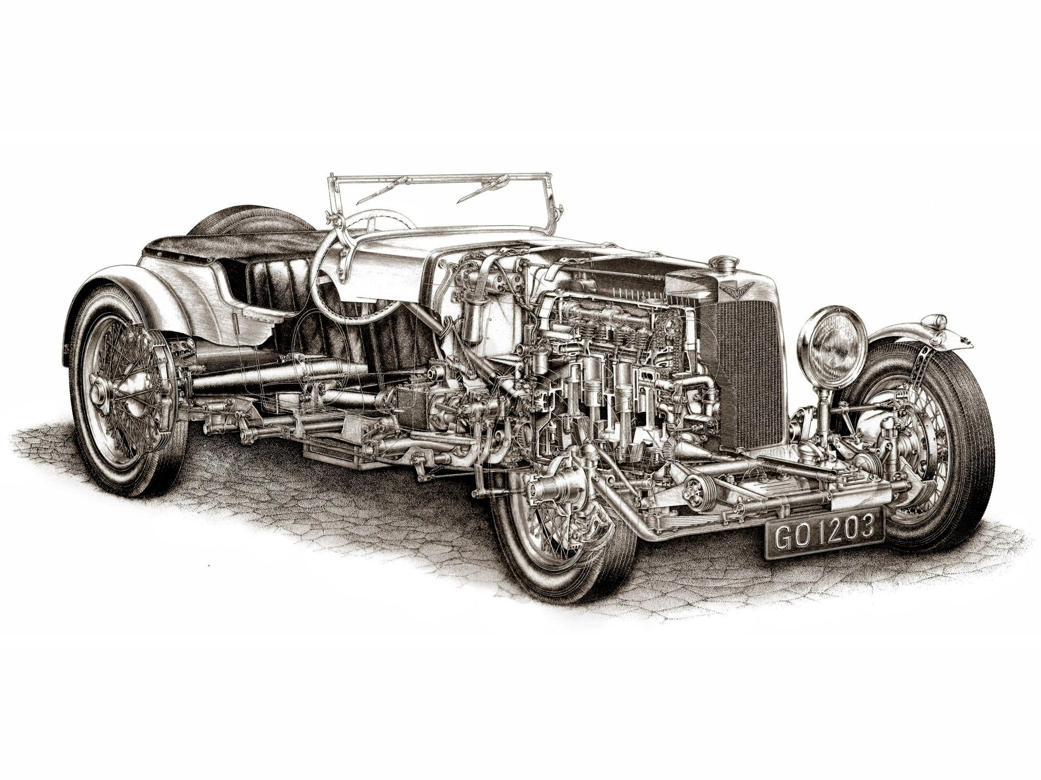 Aston Martin 1½-Litre International cutaway