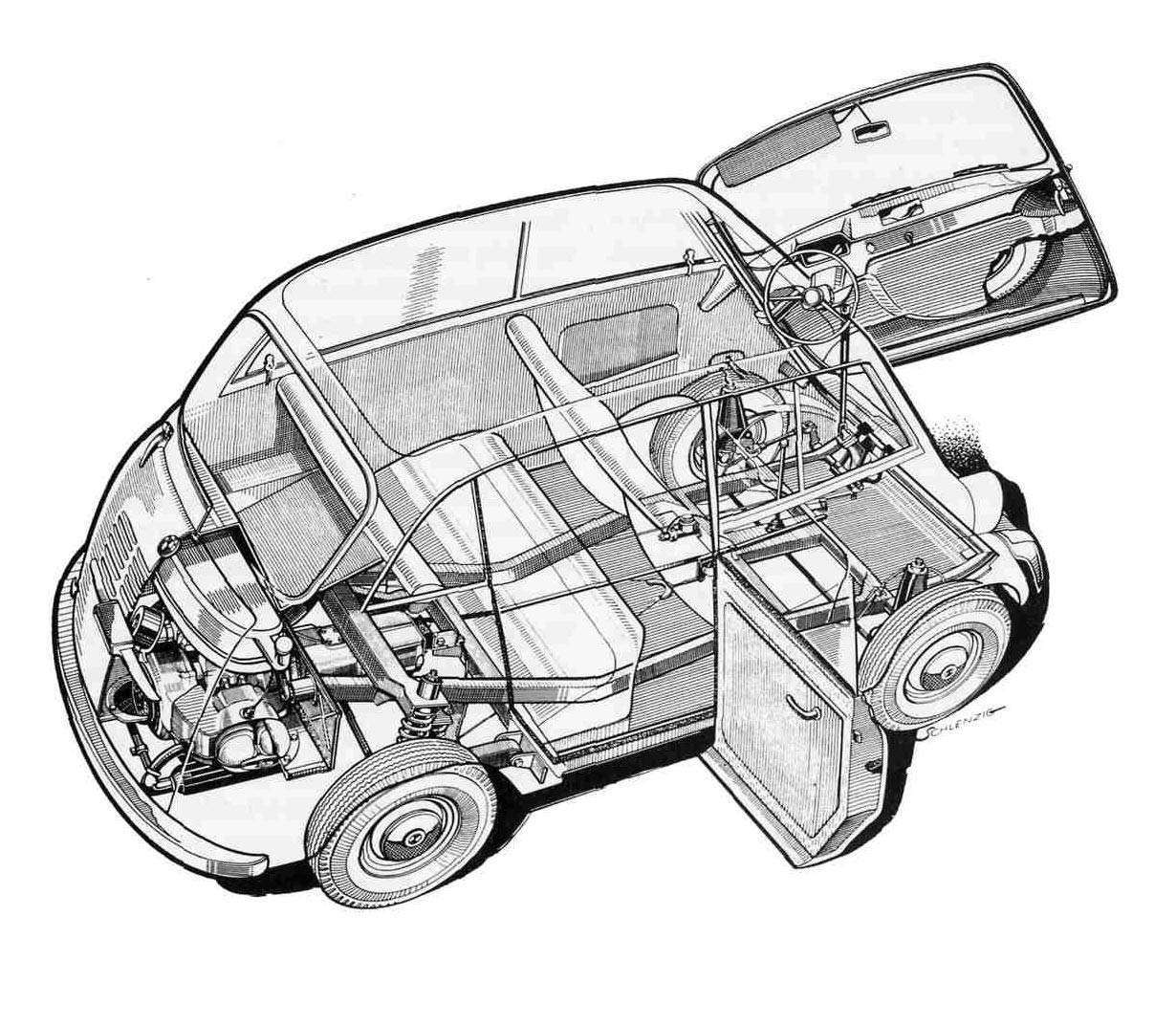 BMW 600 cutaway drawing