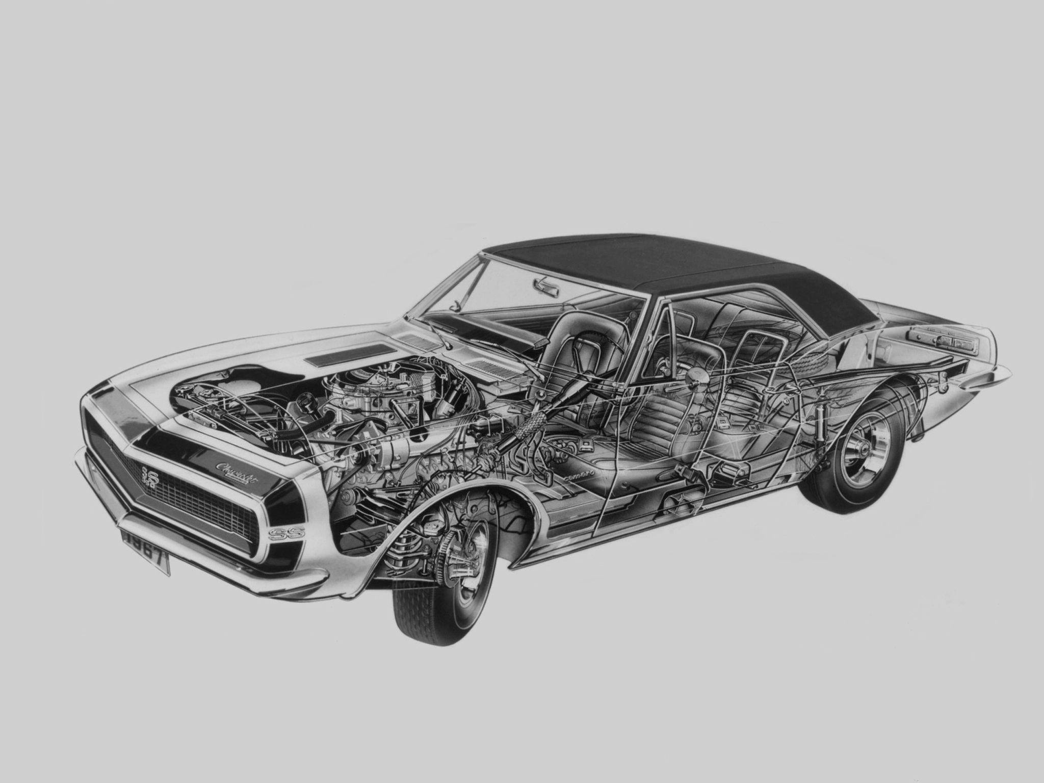 Chevrolet Camaro RS/SS 350 cutaway drawing