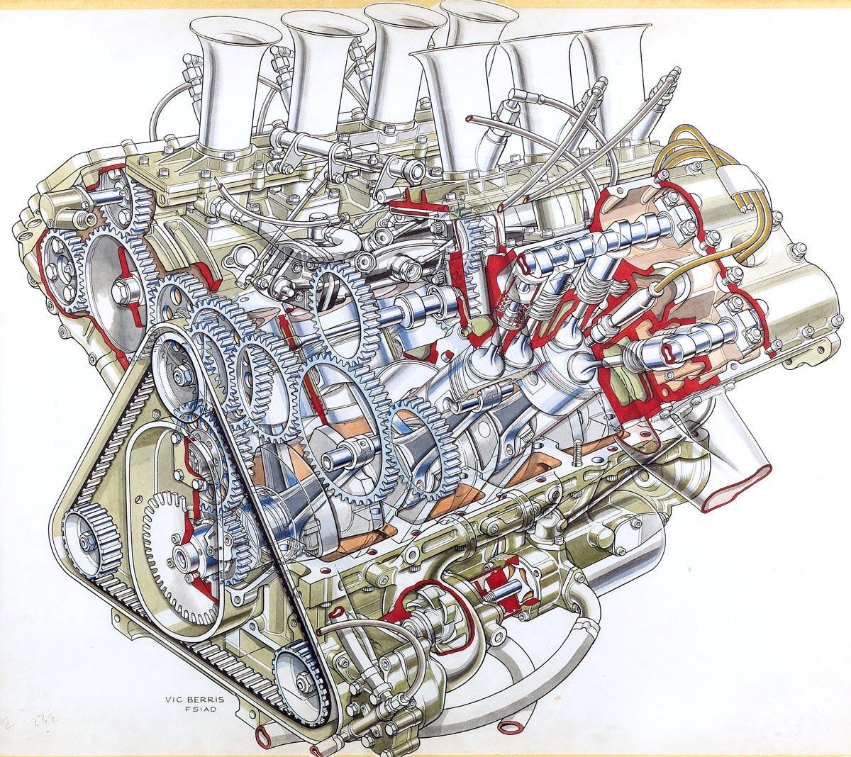 Formula 1 V8 engine cutaway drawing