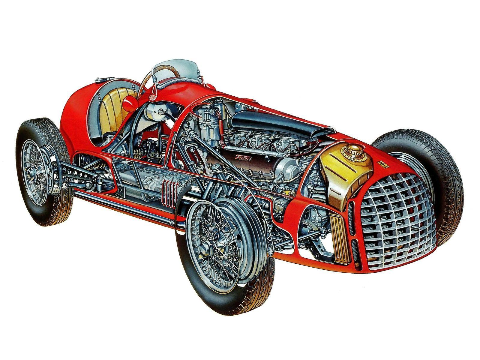 Ferrari 166 F2 cutaway drawing