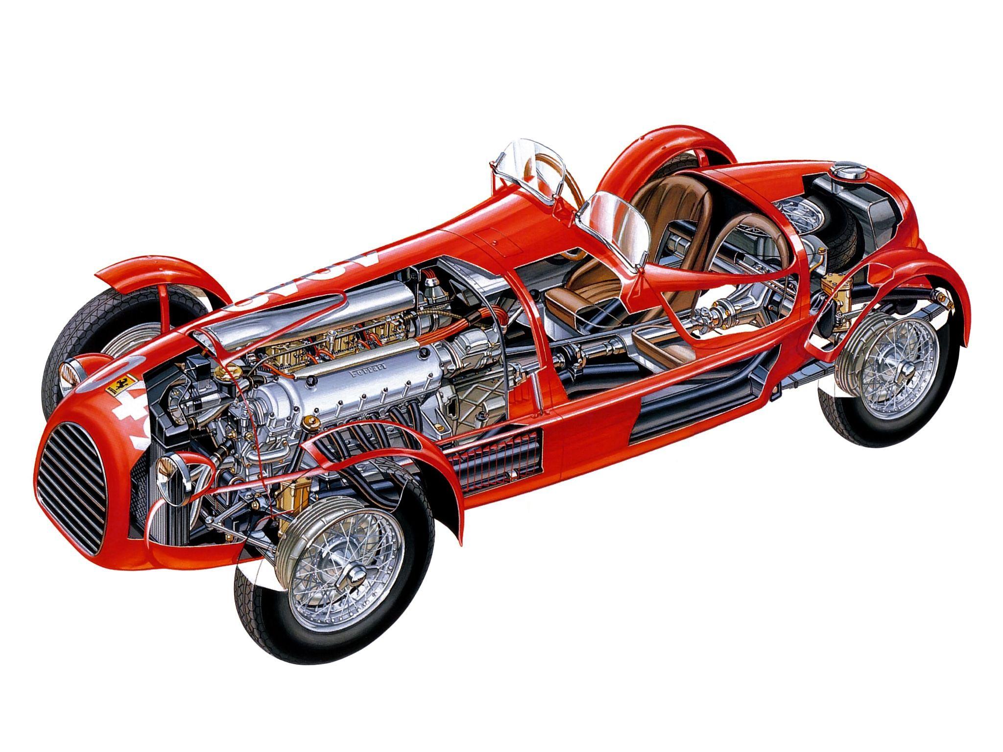 Ferrari 166 Spyder Corsa cutaway drawing