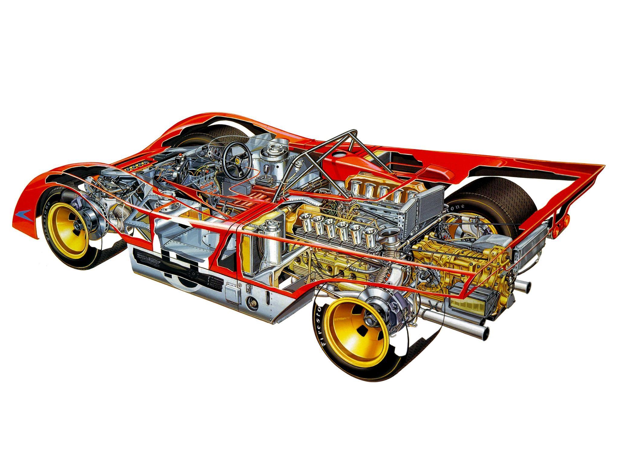 Ferrari 312 PB cutaway drawing