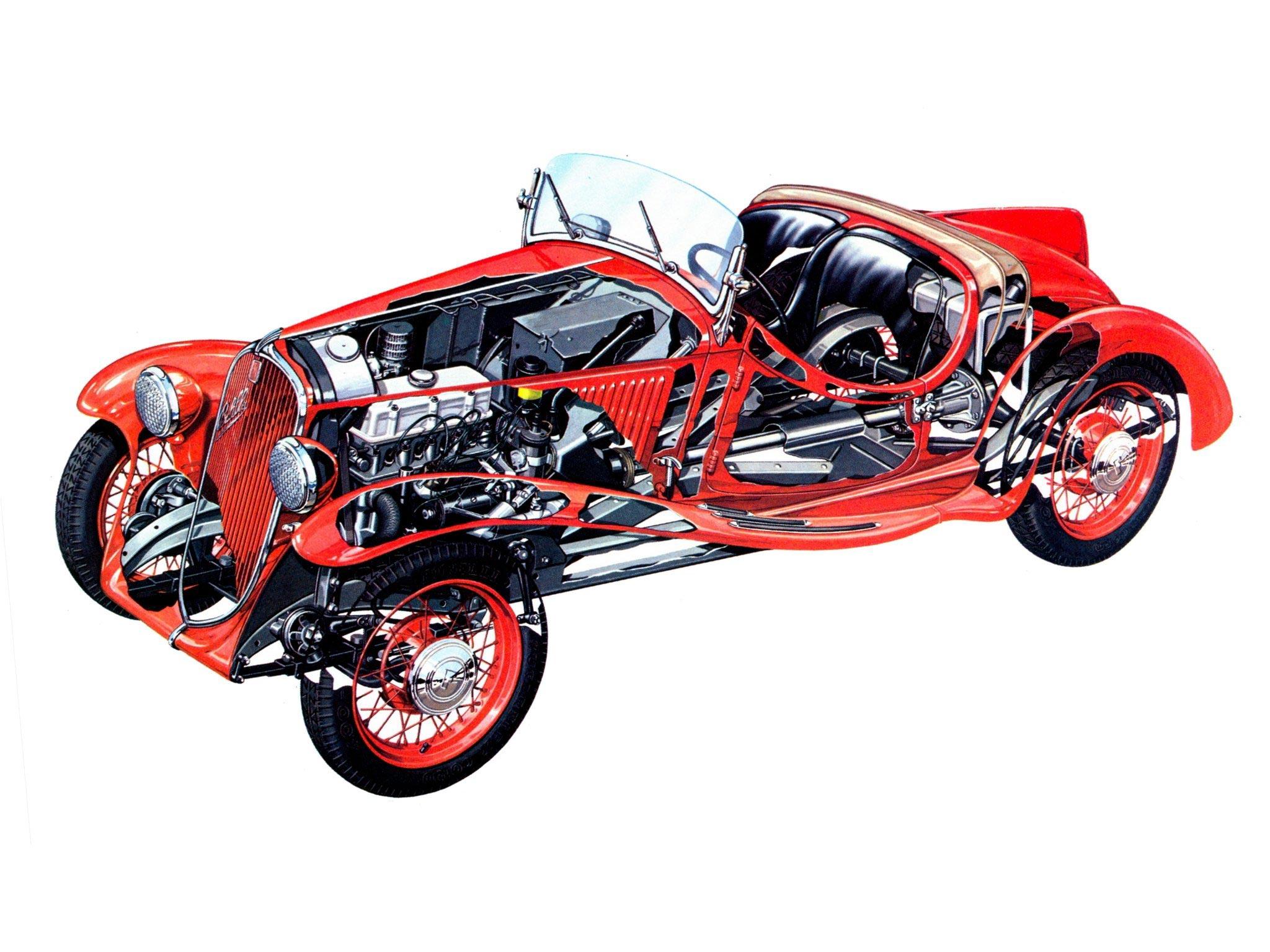 Fiat 508S Balilla Spyder cutaway drawing
