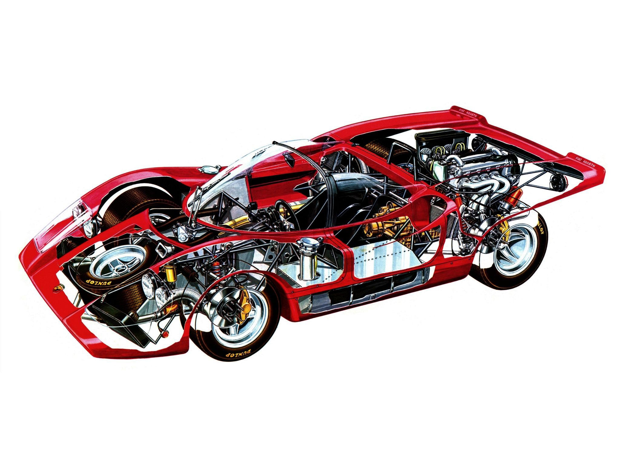 Fiat Abarth 2000 Sport Spider cutaway drawing