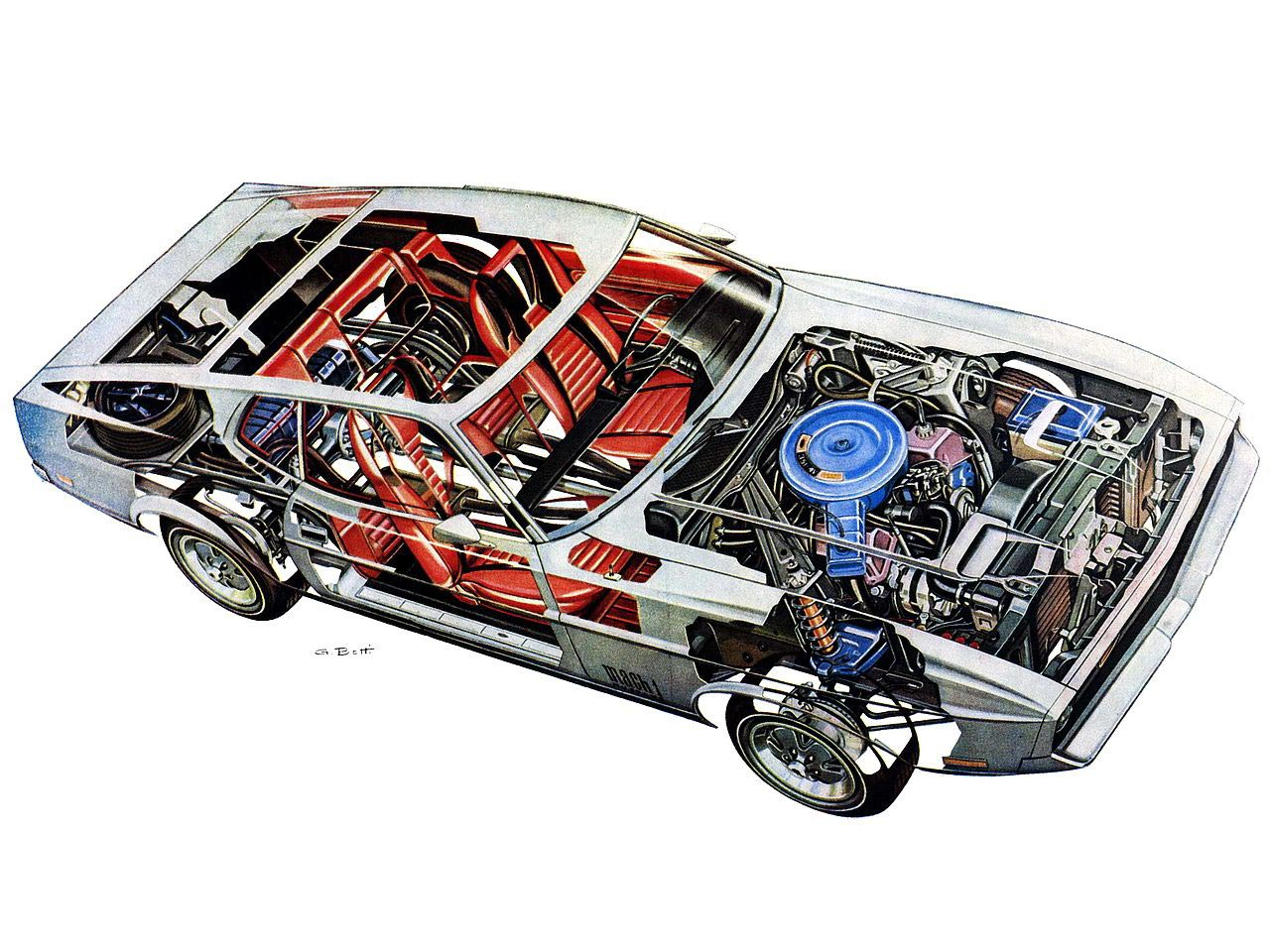 Ford Mustang Mach 1 cutaway drawing