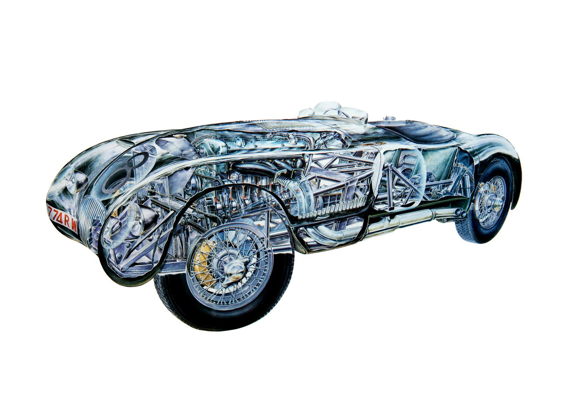Jaguar C-Type cutaway drawing