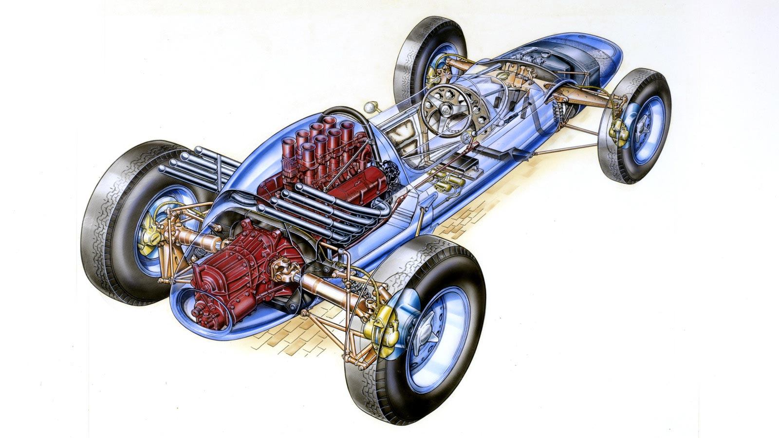 Lotus-Ford 29 Indianapolis racer cutaway drawing