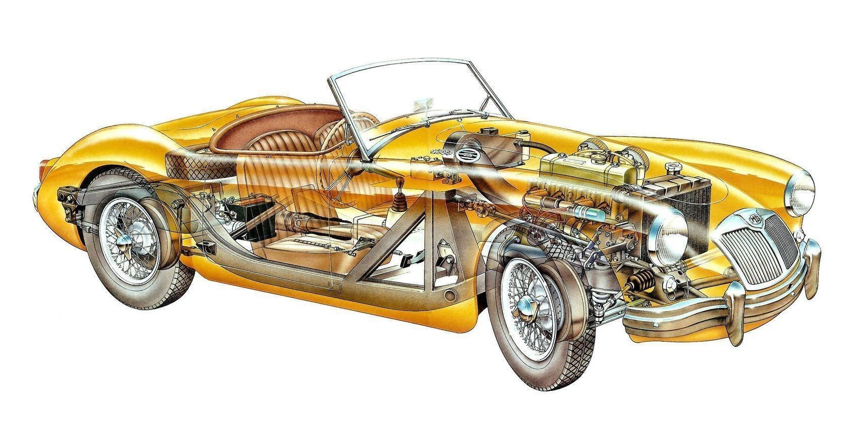 MG A 1600 cutaway drawing