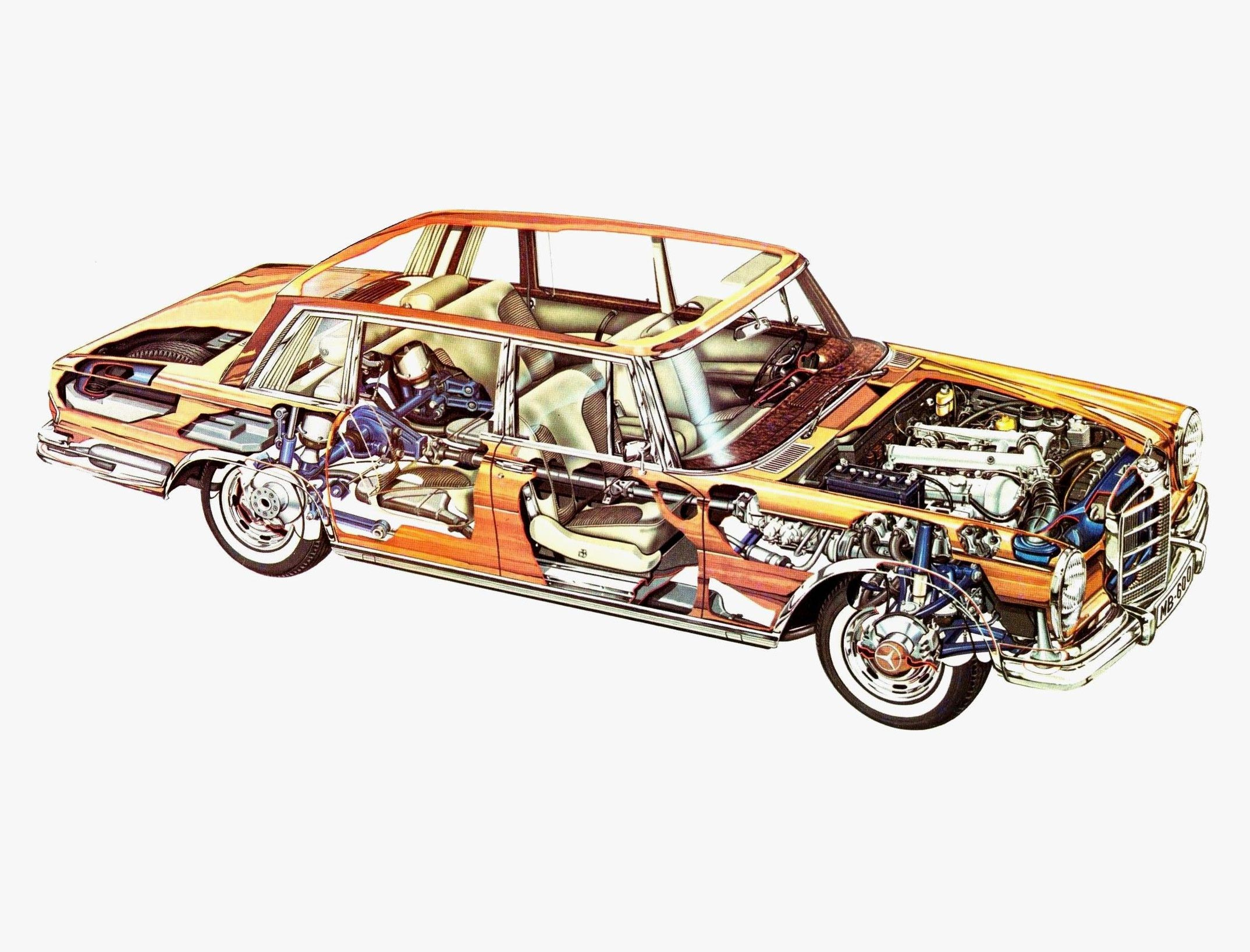 Mercedes-Benz 600 cutaway drawing