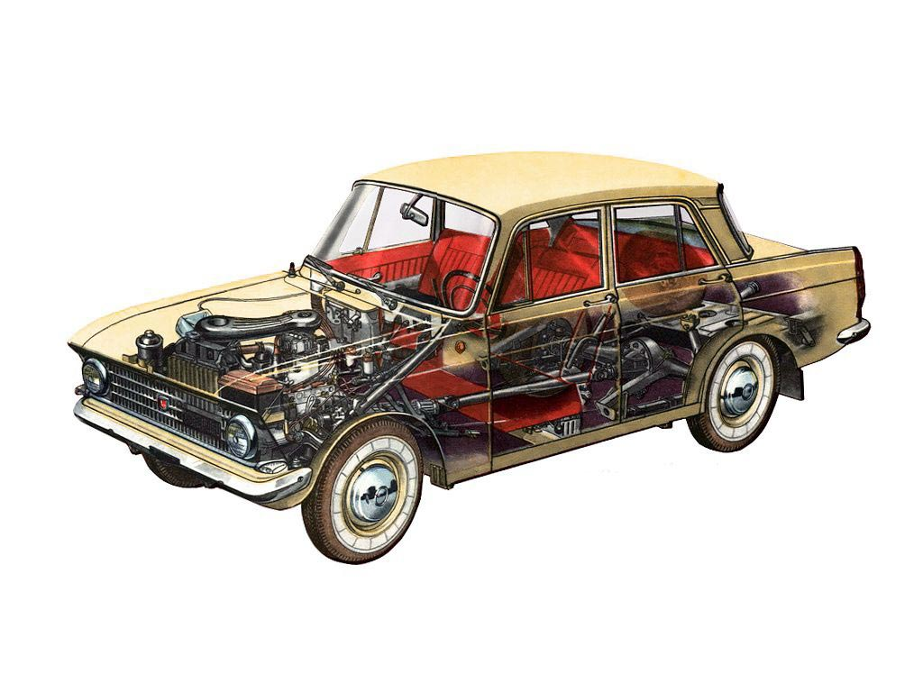 Moskvitch 408 cutaway drawing