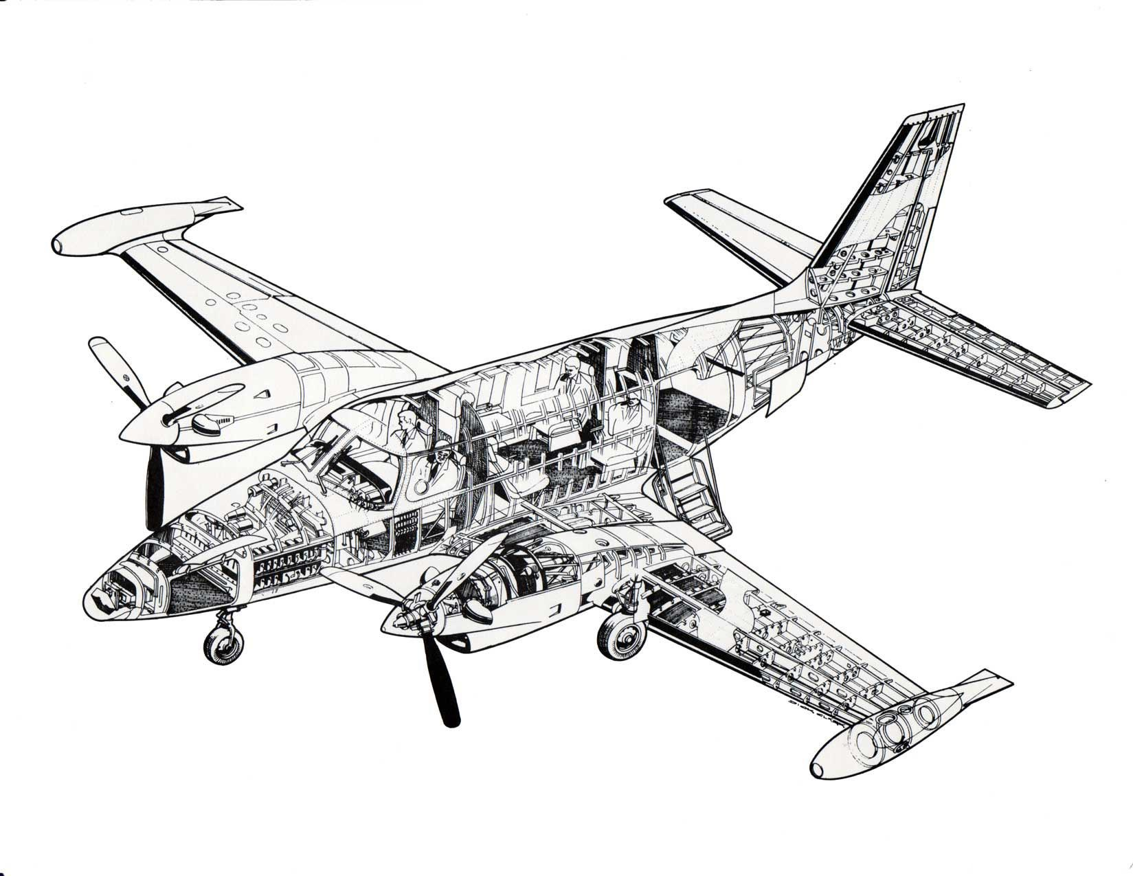 Piper PA-31T Cheyenne cutaway drawing