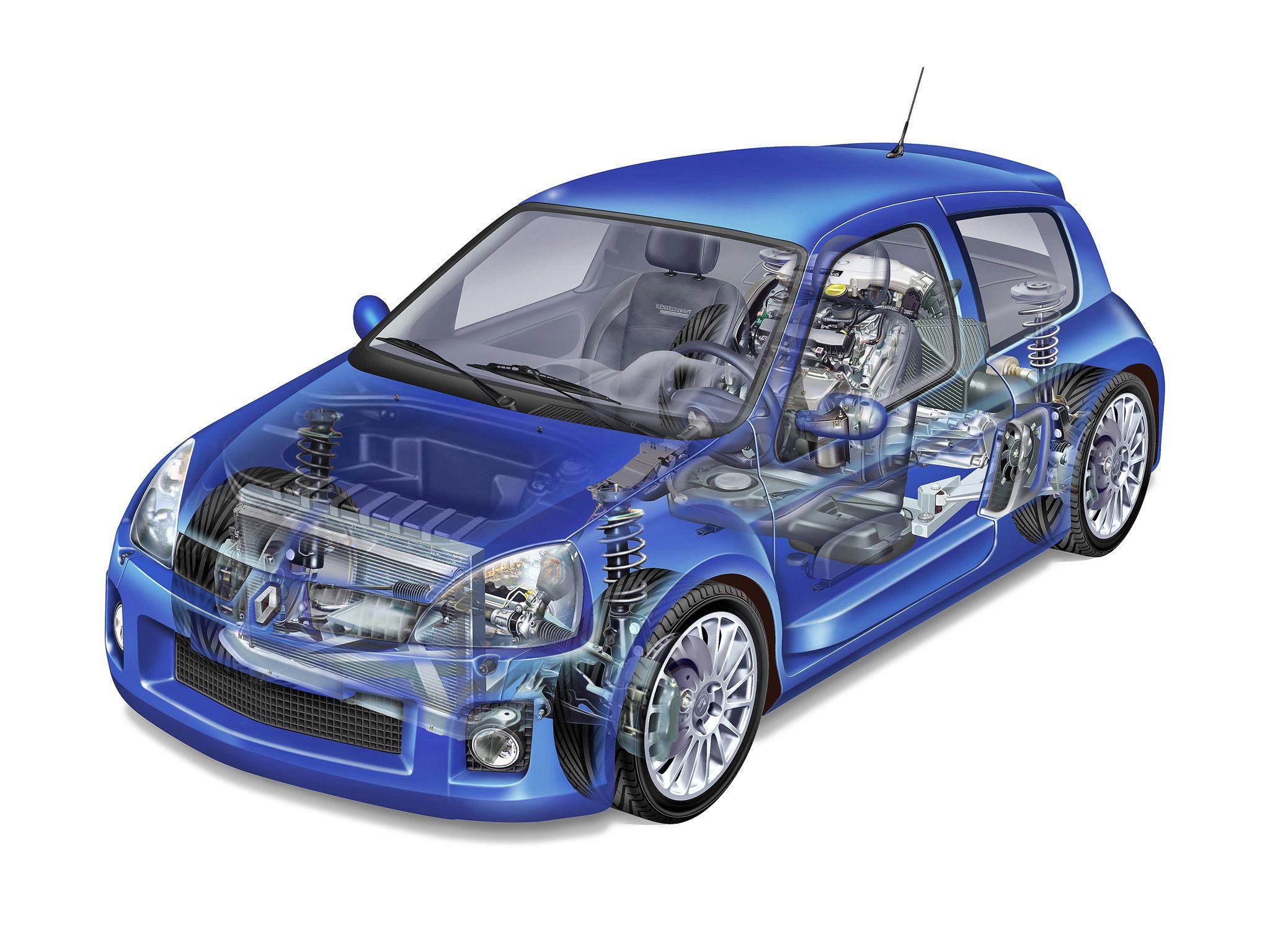 Renault Clio V6 cutaway drawing