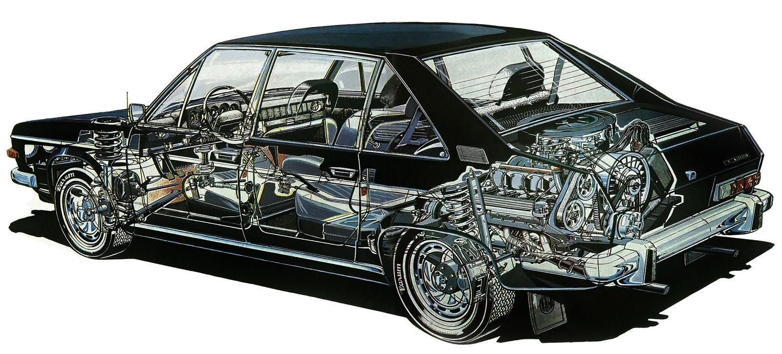 Tatra 613 cutaway drawing