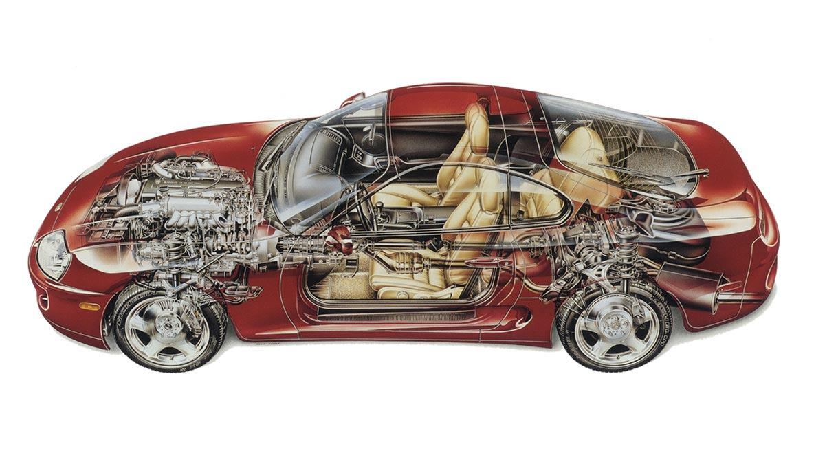 Toyota Supra cutaway drawing