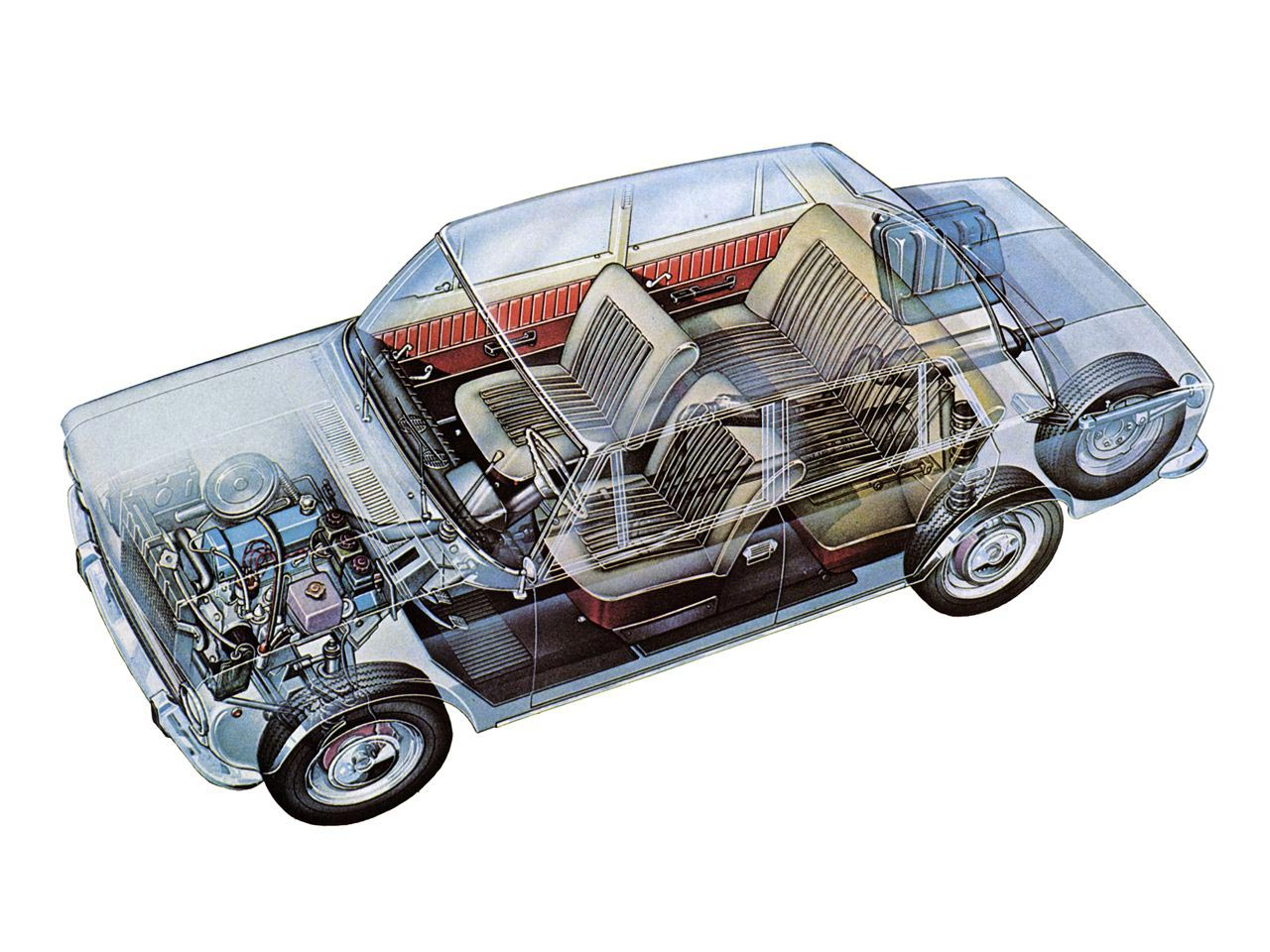 VAZ-2101 Zhiguli cutaway drawing