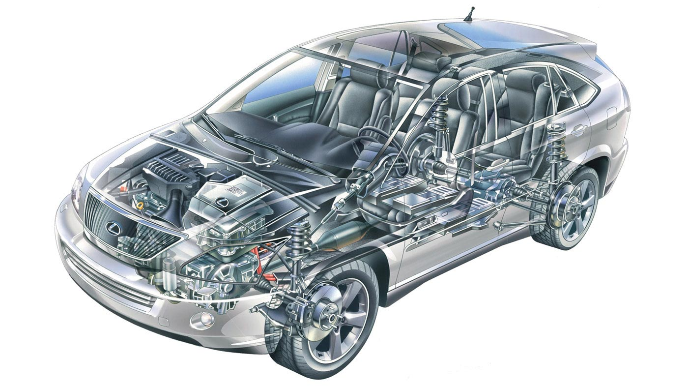 Lexus RX 400h cutaway drawing