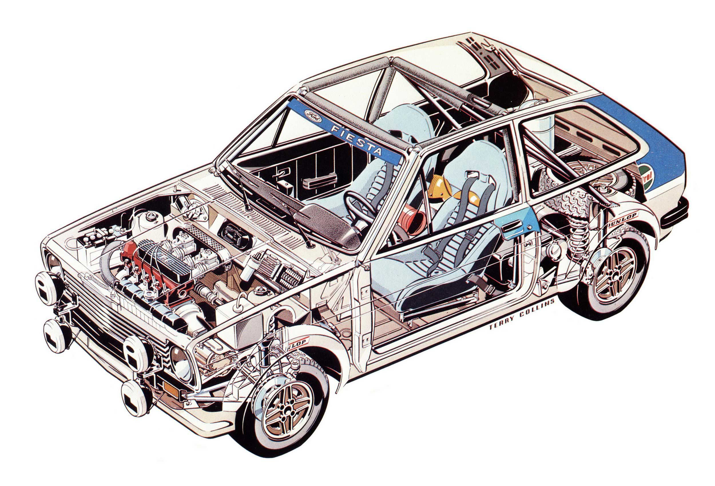 Ford Fiesta XR2 Rally car cutaway drawing