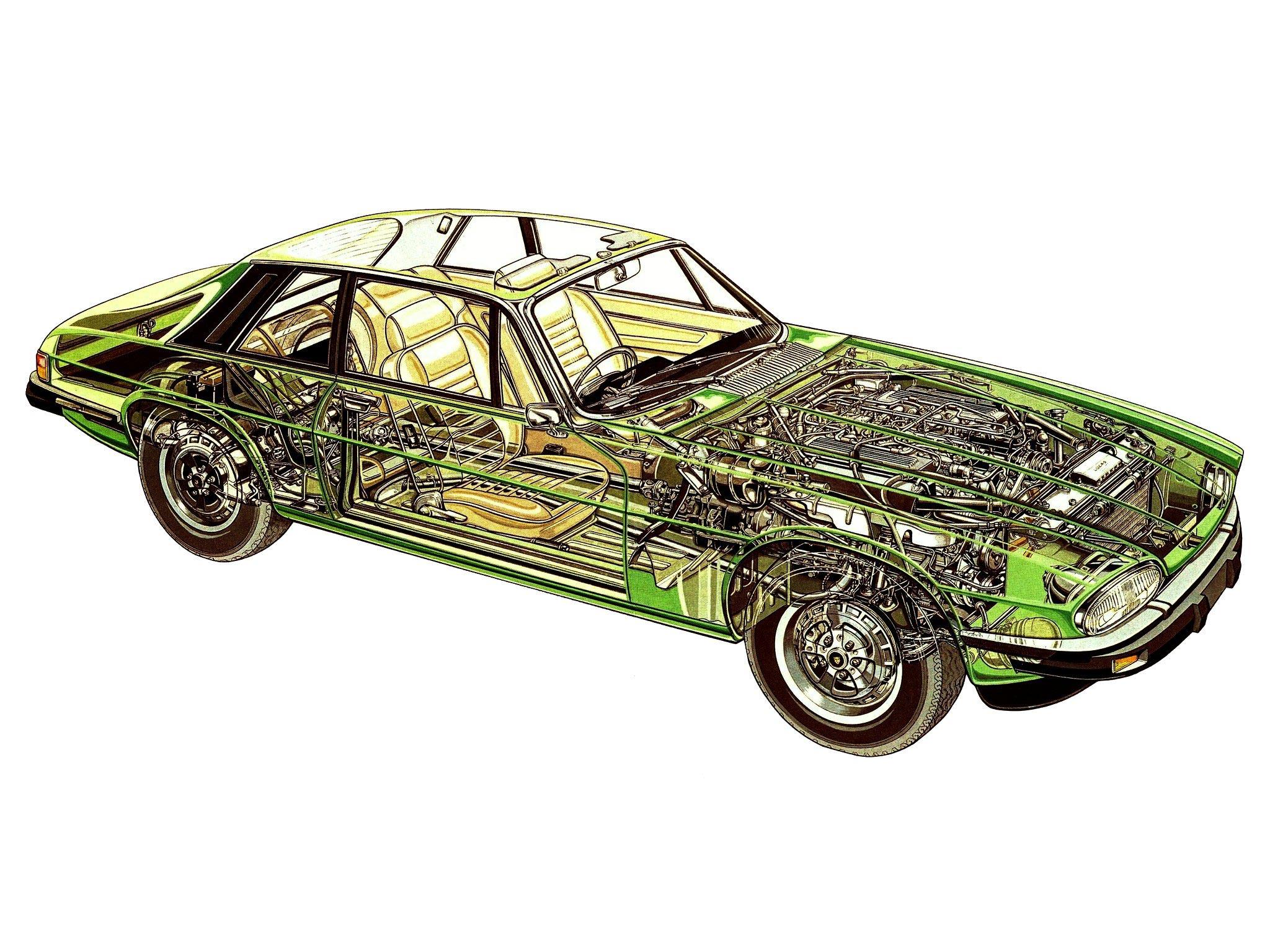 Jaguar XJ-S cutaway drawing