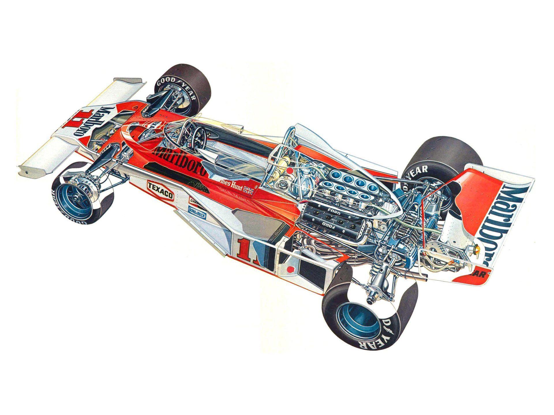 McLaren M23B cutaway drawing
