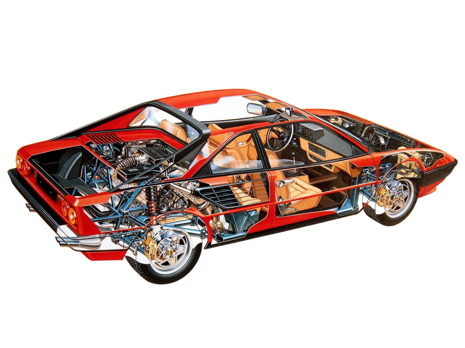 Ferrari Mondial cutaway drawing