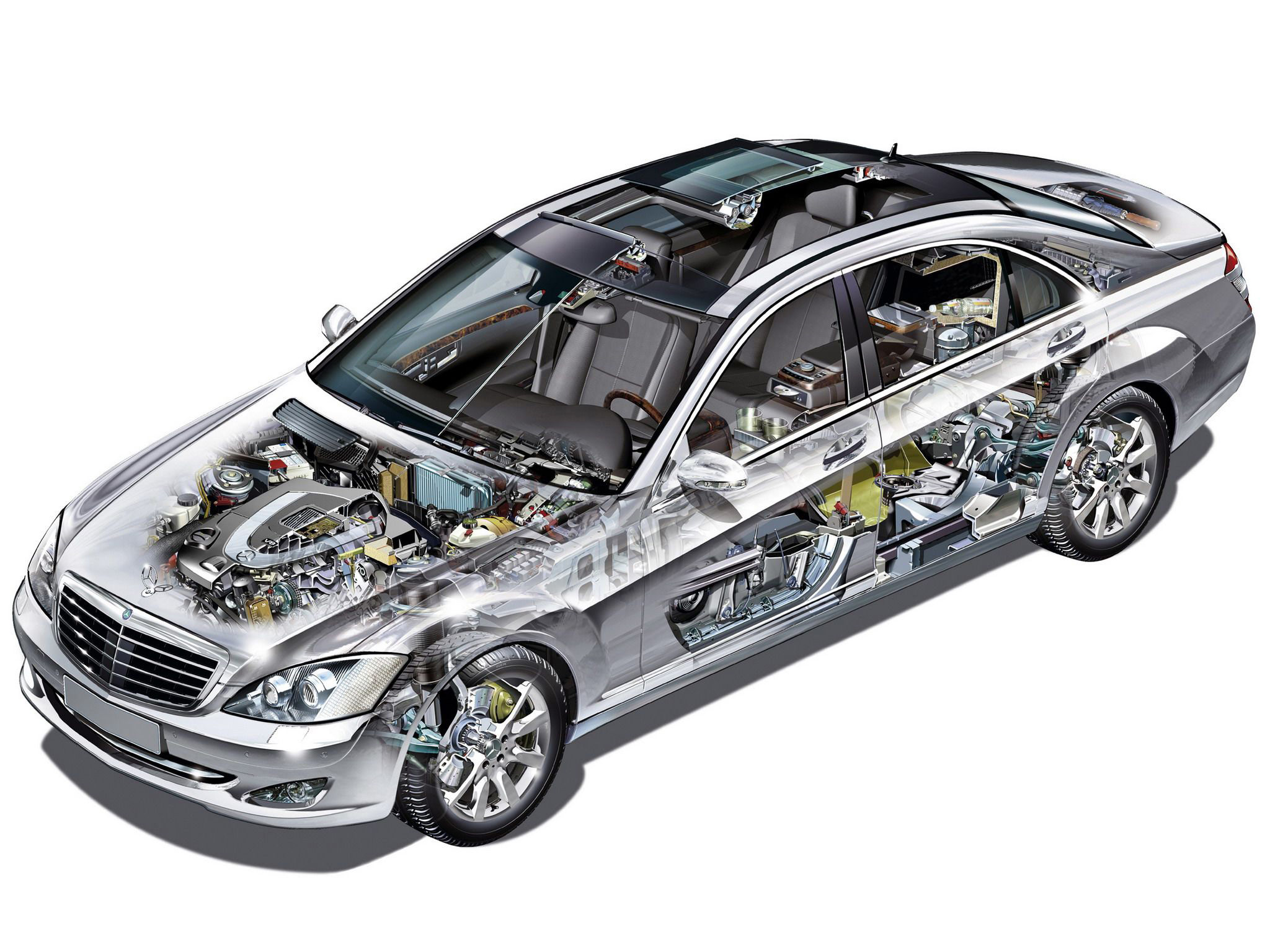 Mercedes-Benz S-class cutaway drawing