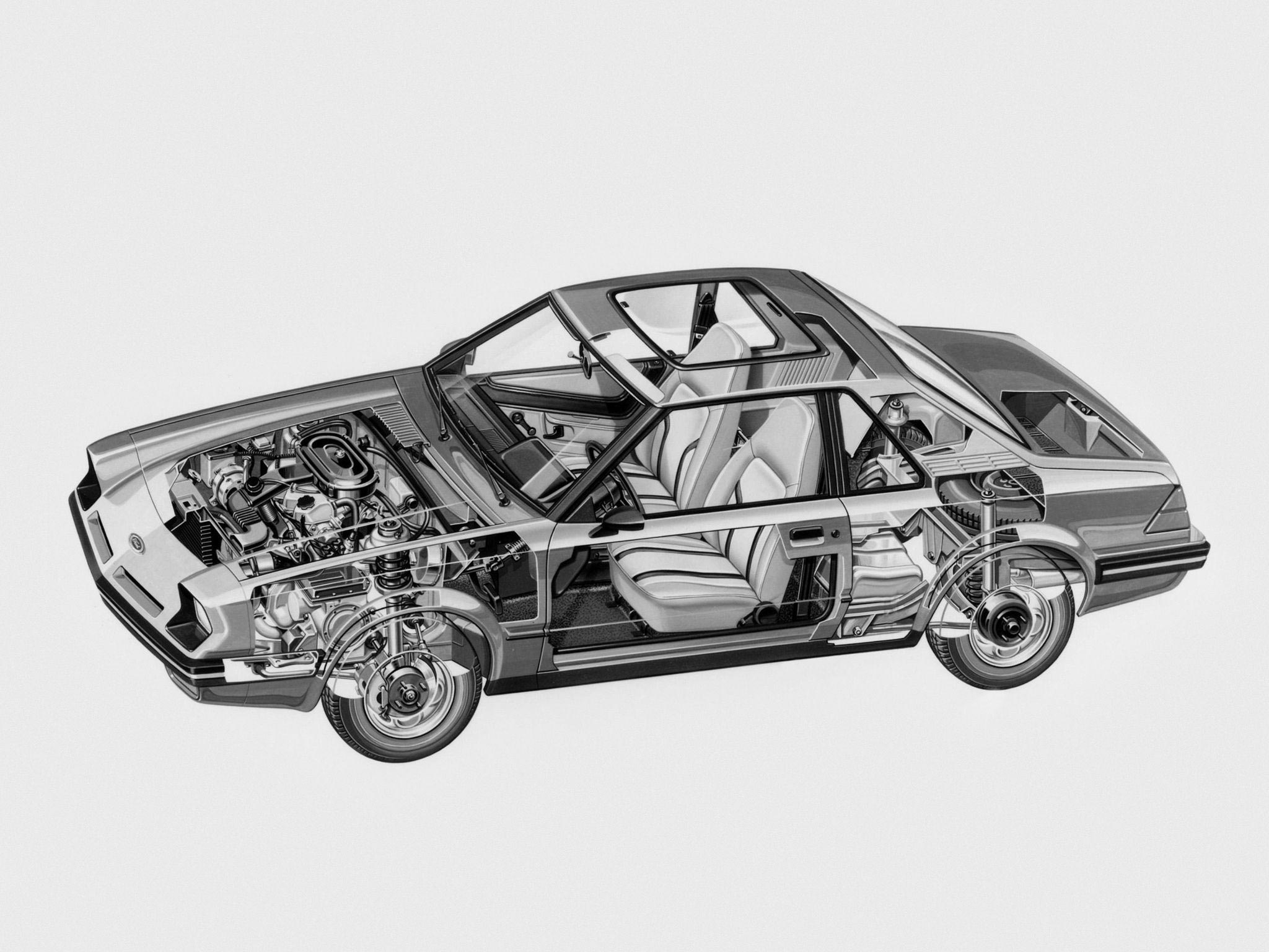 Ford EXP cutaway drawing