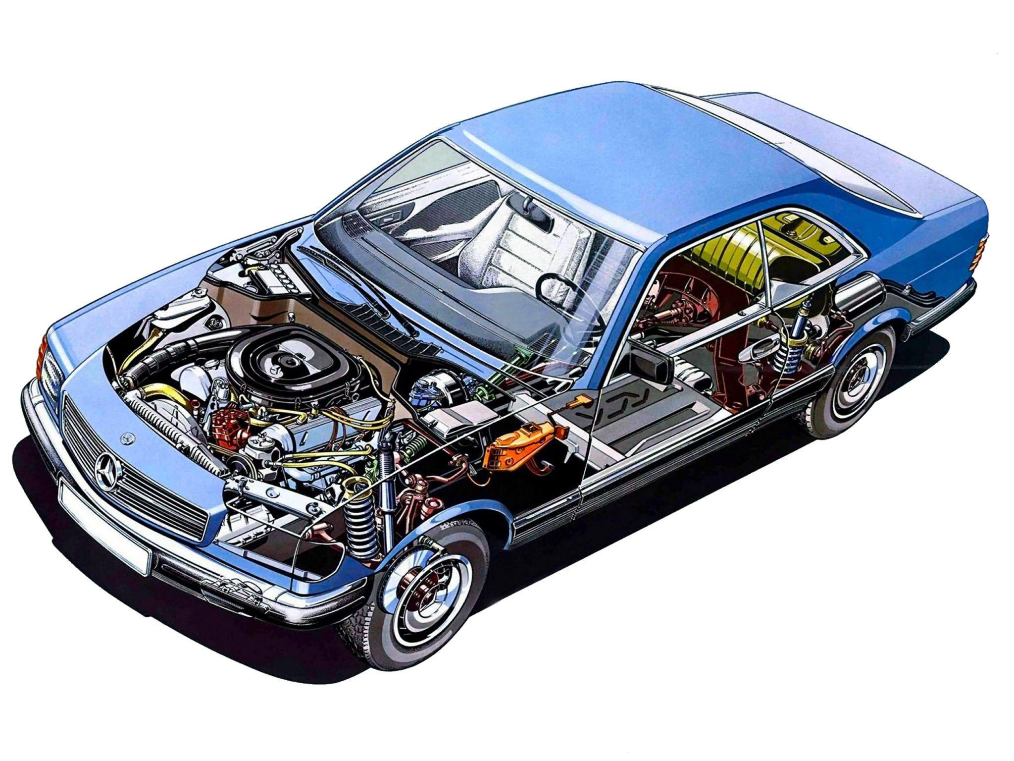 Mercedes-Benz S-class c126 cutaway drawings
