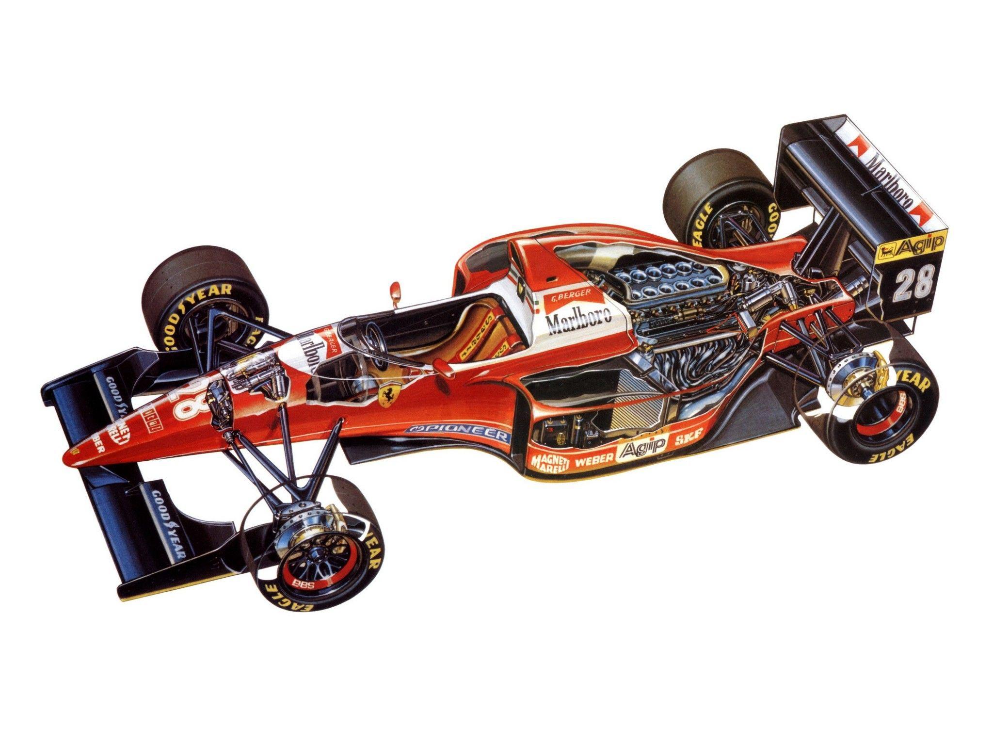 Ferrari F93A cutaway drawing