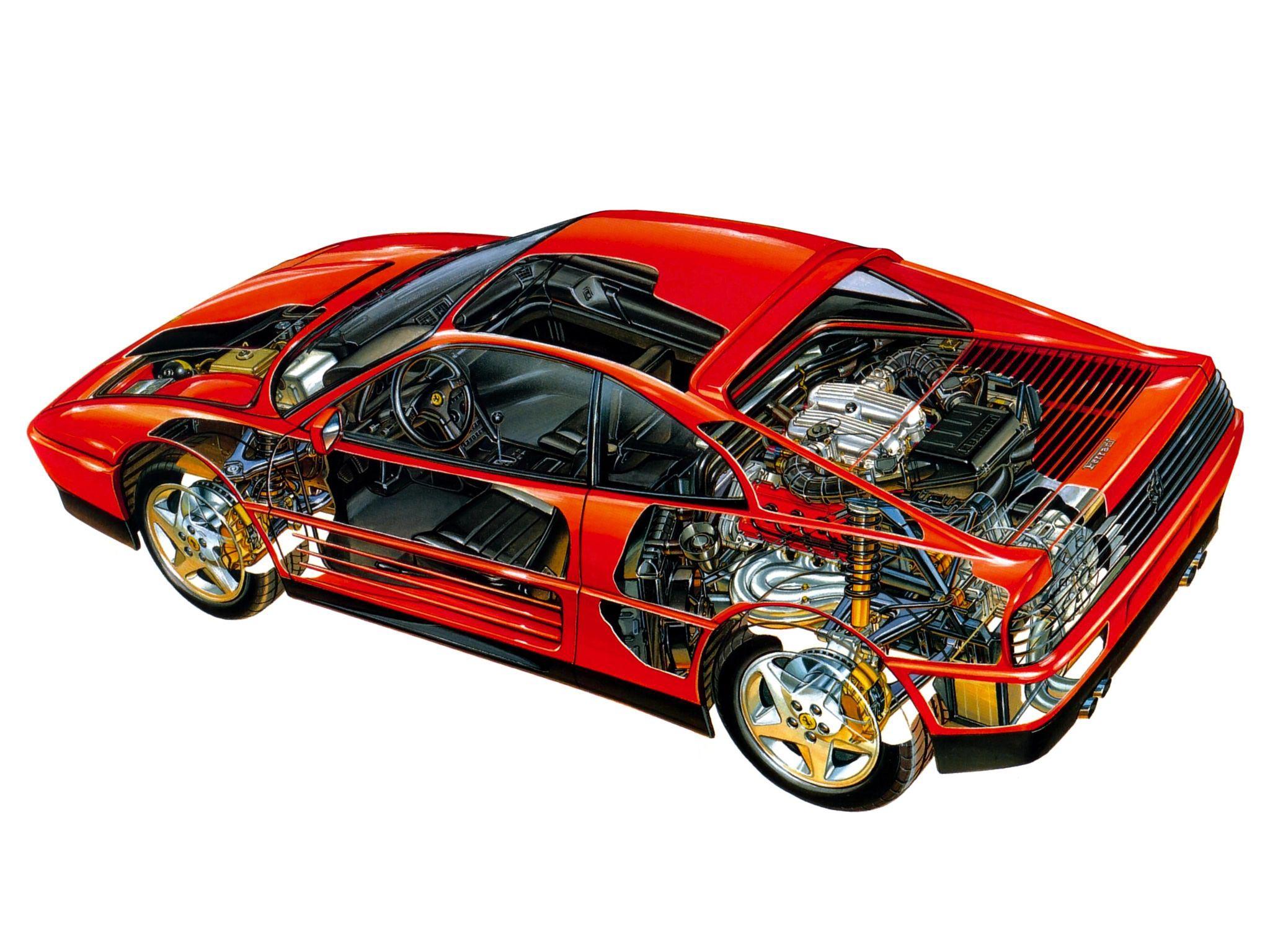 Ferrari 348 cutaway drawing