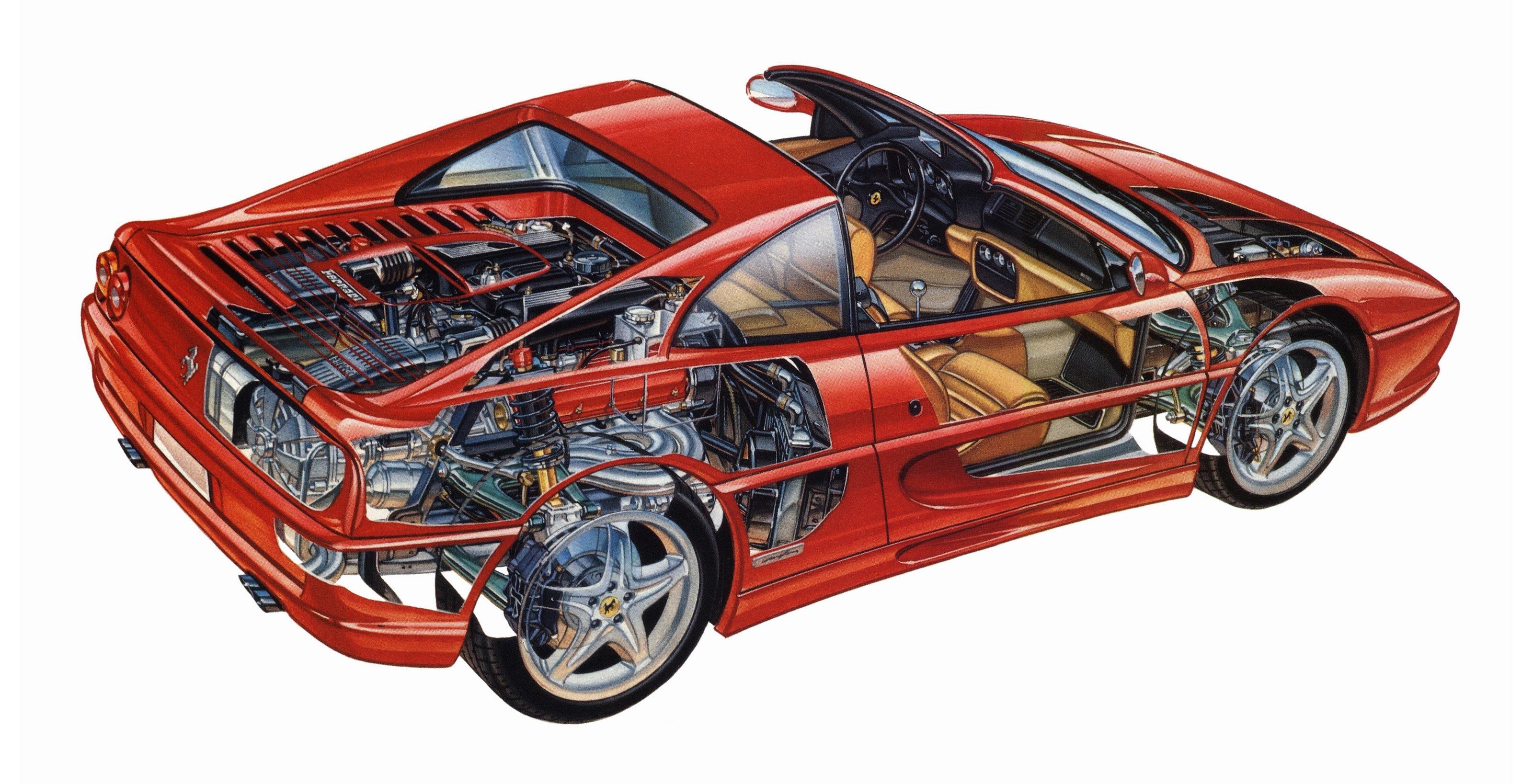 Ferrari F355 GTS cutaway drawing